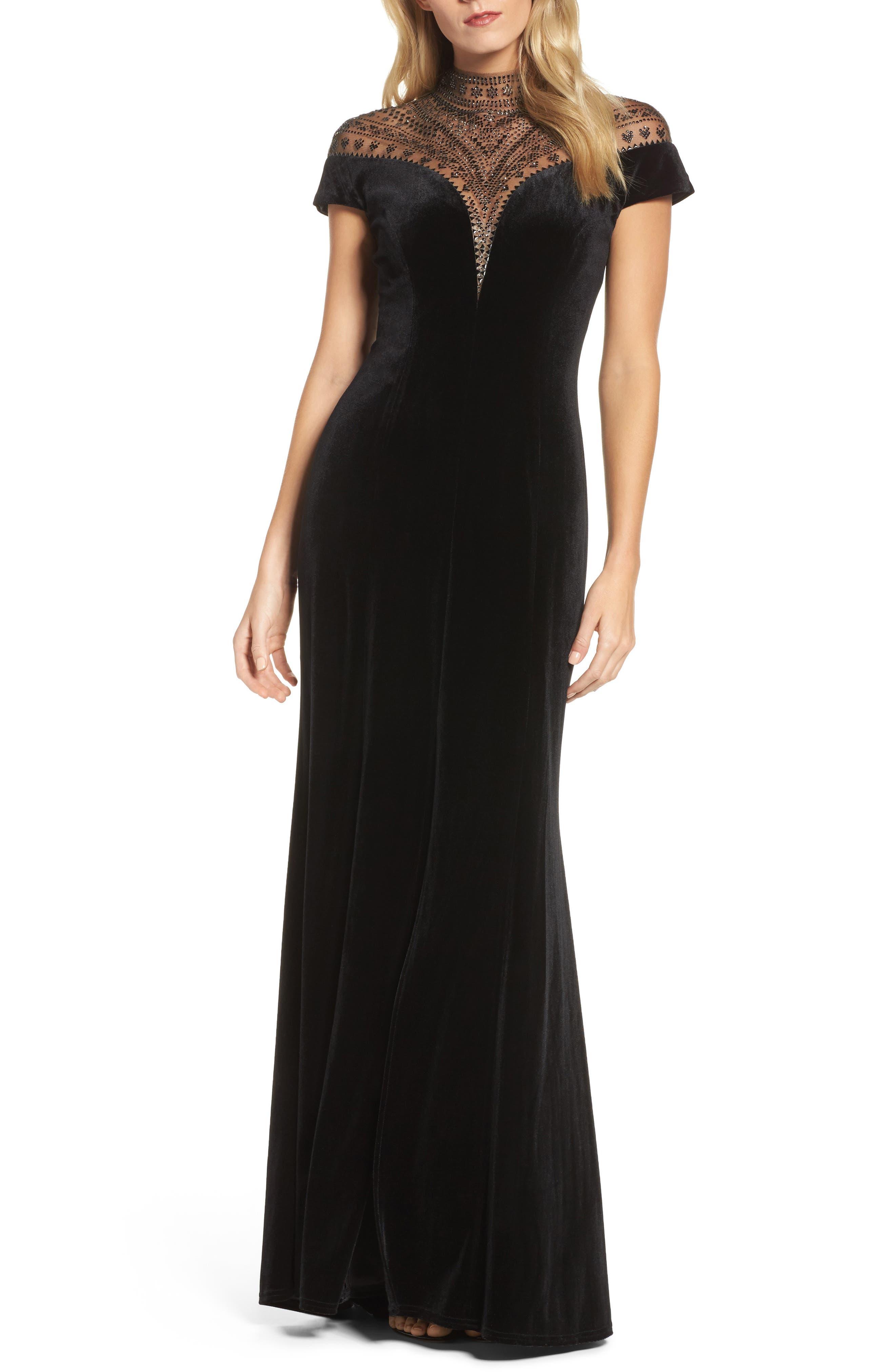 Embellished Deep V-Neck Velvet Gown,                             Main thumbnail 1, color,                             Black