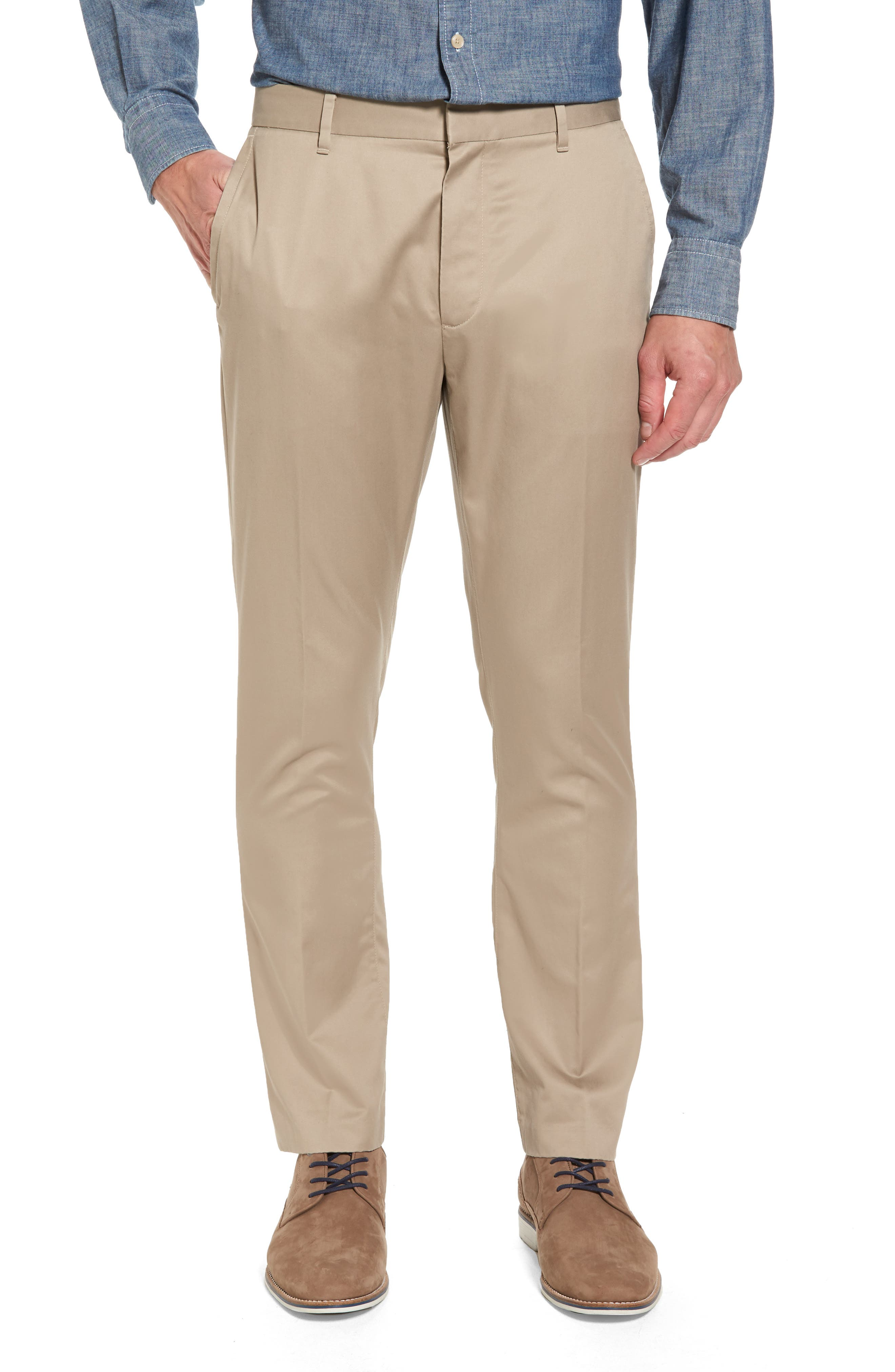 'Weekday Warriors' Non-Iron Tailored Cotton Chinos,                         Main,                         color, Wednesday Tans