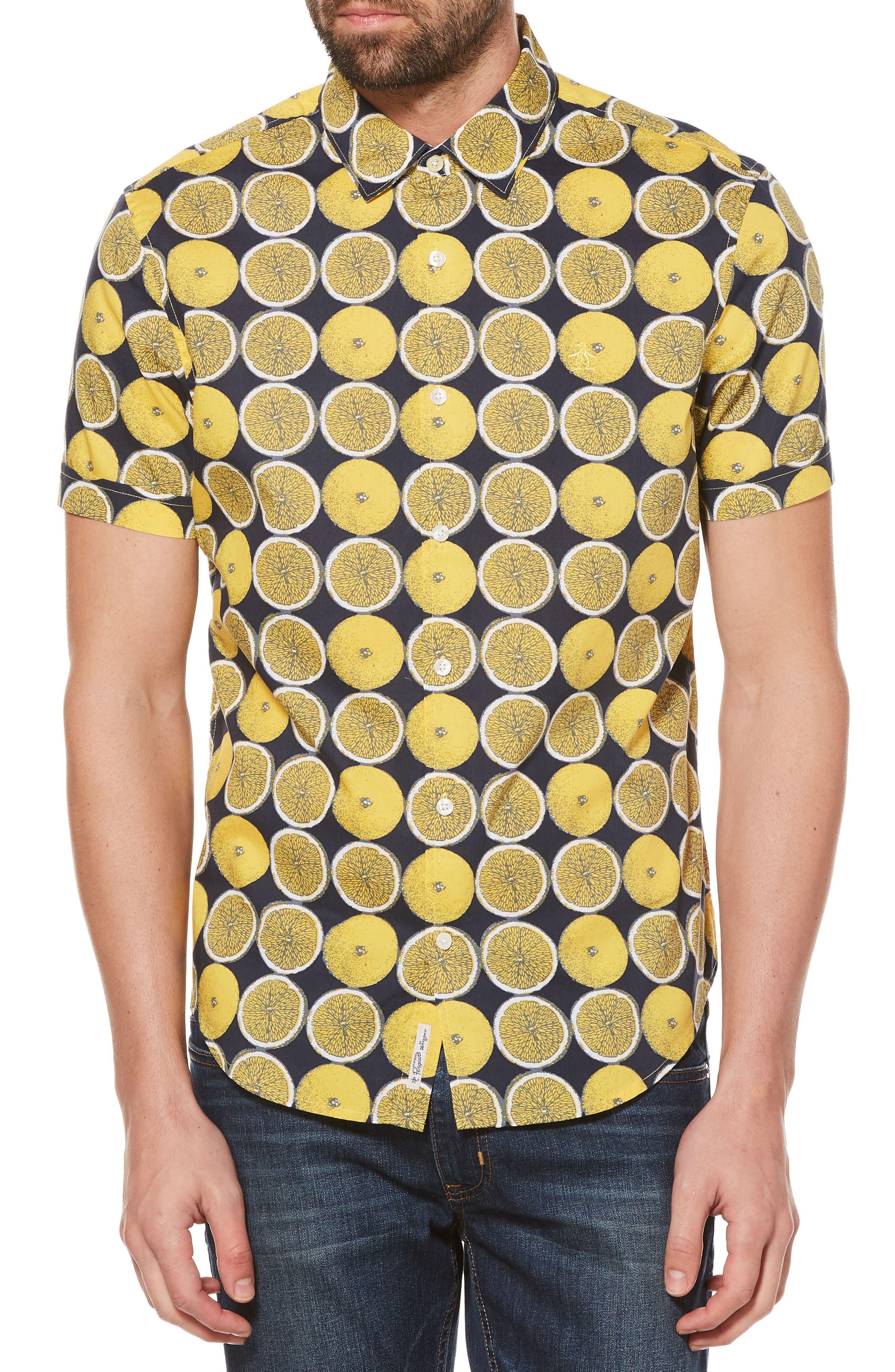 Lemon Print Poplin Shirt,                             Main thumbnail 1, color,                             Super Lemon