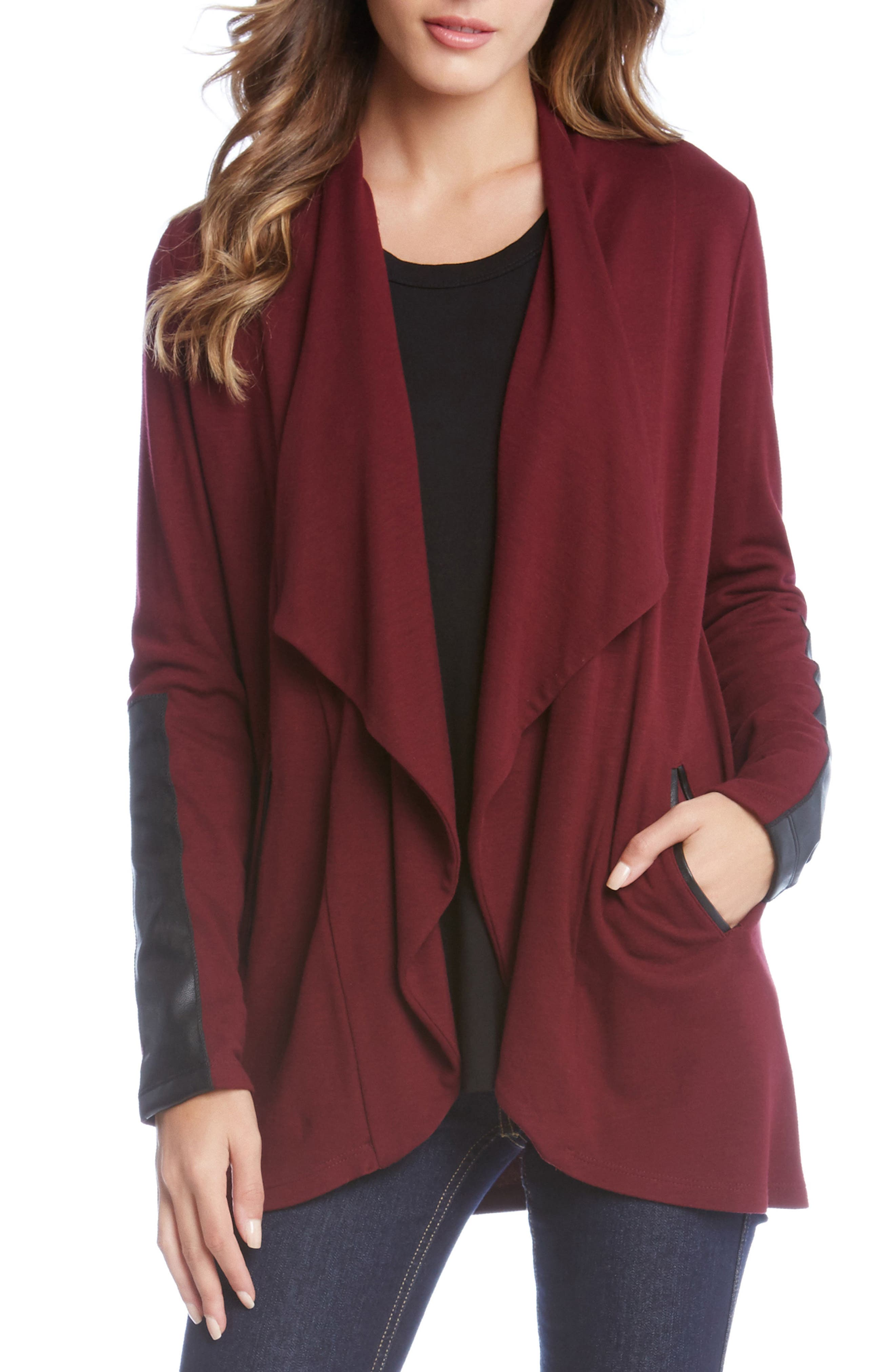 Main Image - Karen Kane Faux Leather Detail Jacket