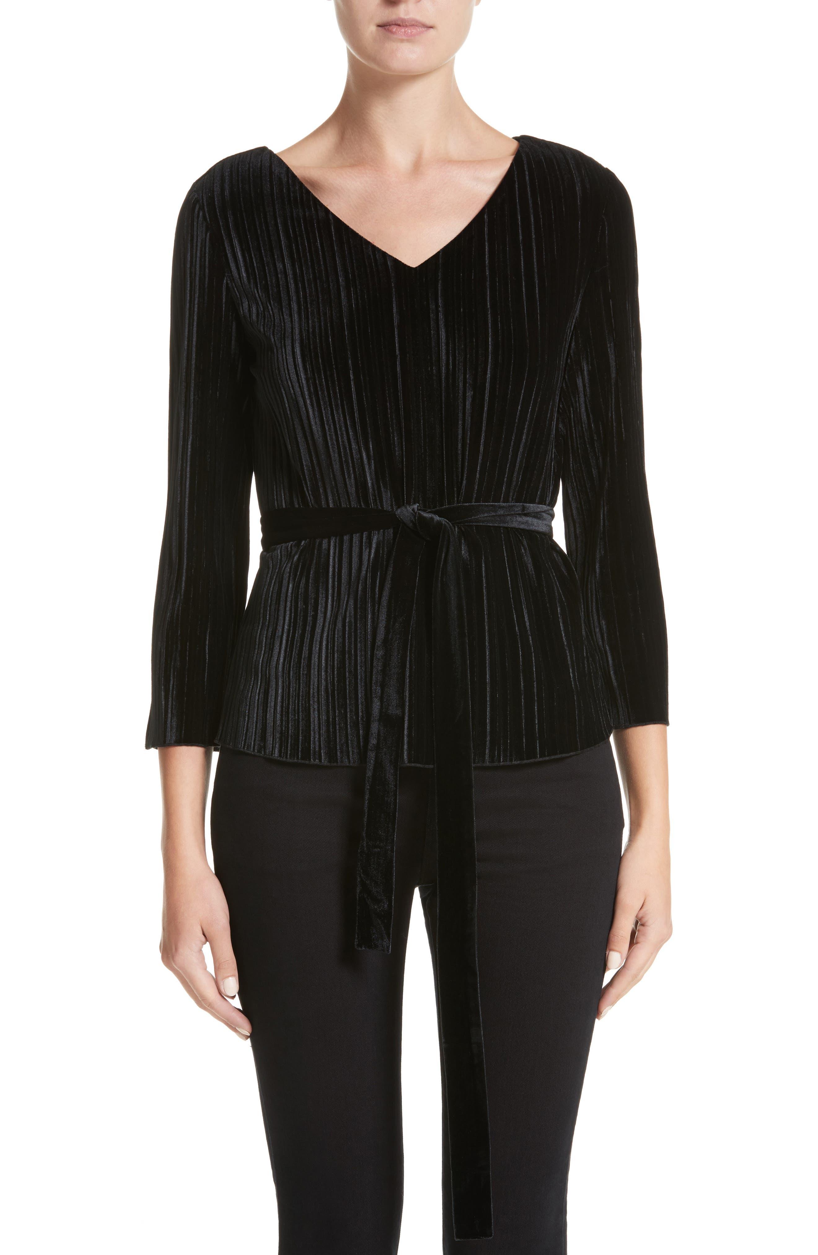 Main Image - Armani Collezioni Belted Velvet Blouse