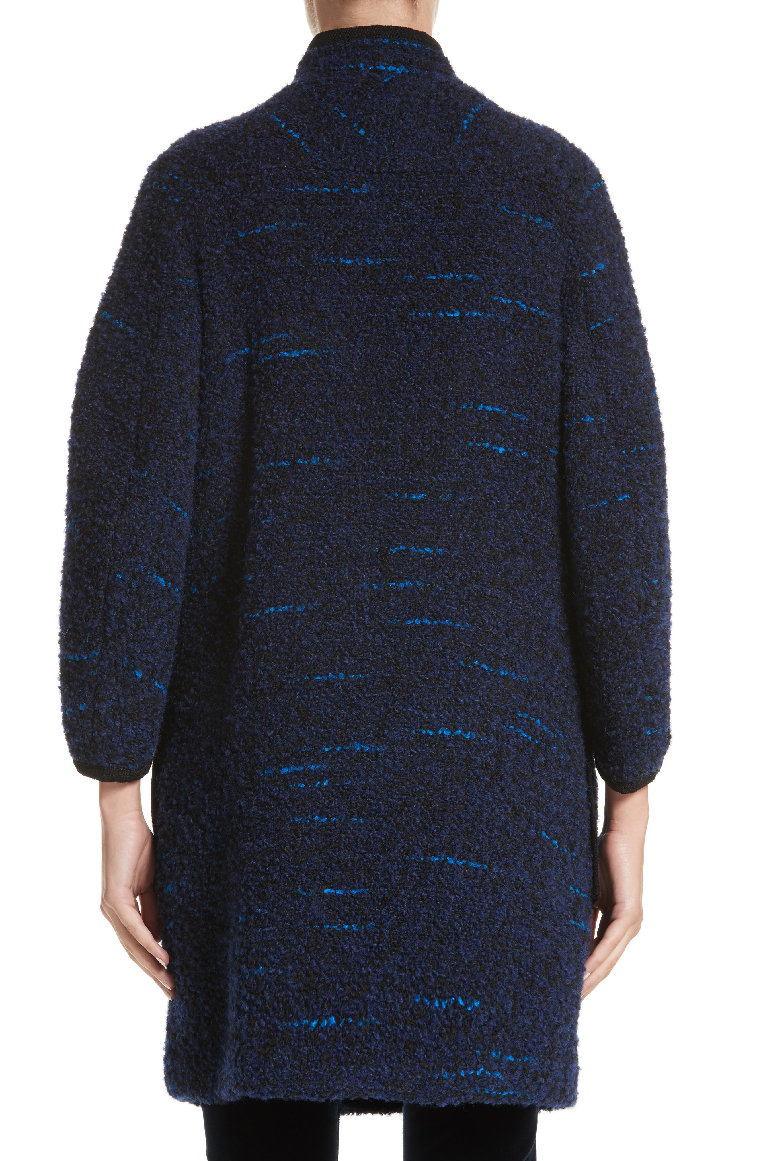 Wool Blend Swing Coat,                             Alternate thumbnail 2, color,                             Navy / Blue Multi