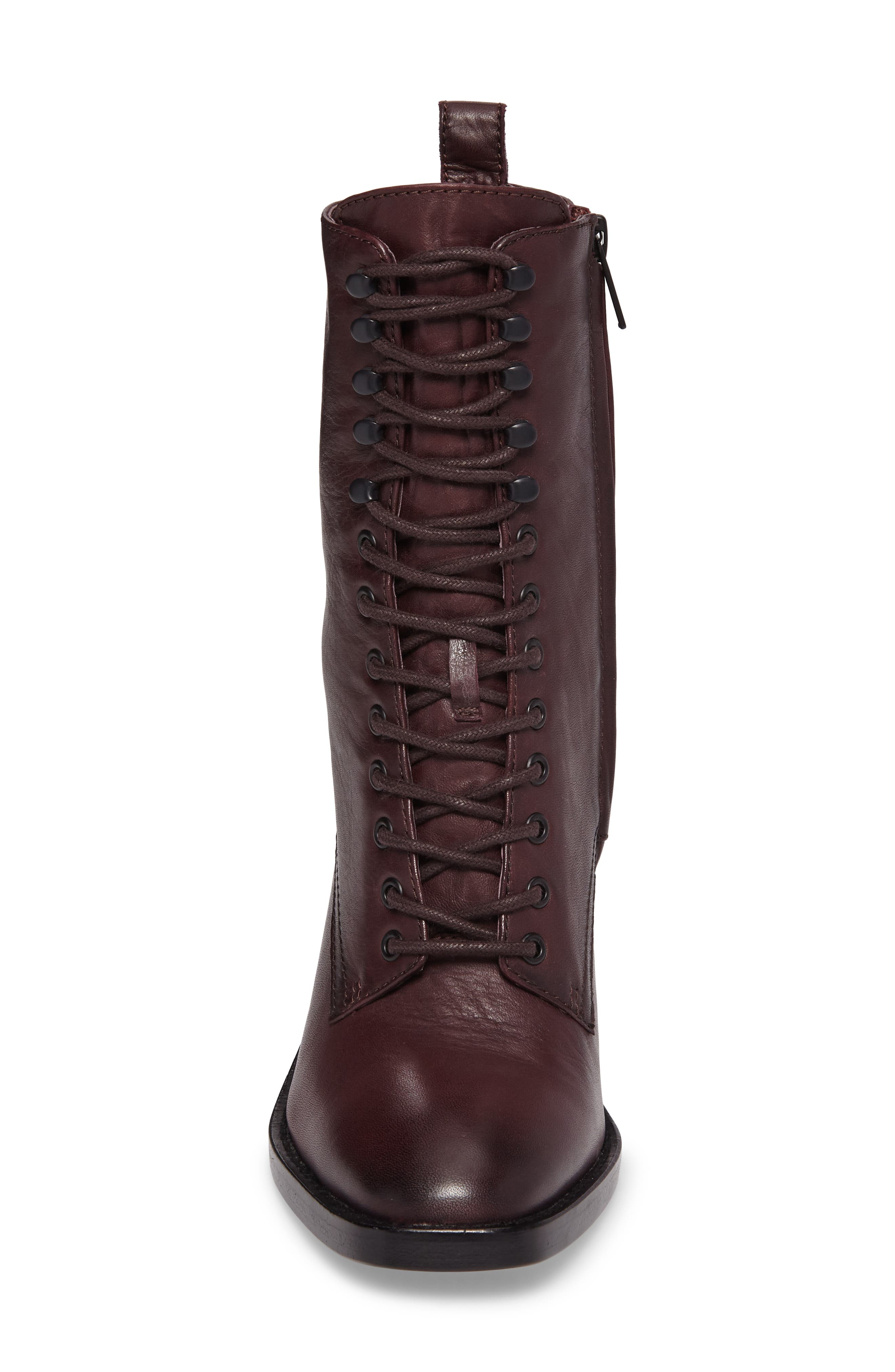 Pia Combat Boot,                             Alternate thumbnail 4, color,                             Wine