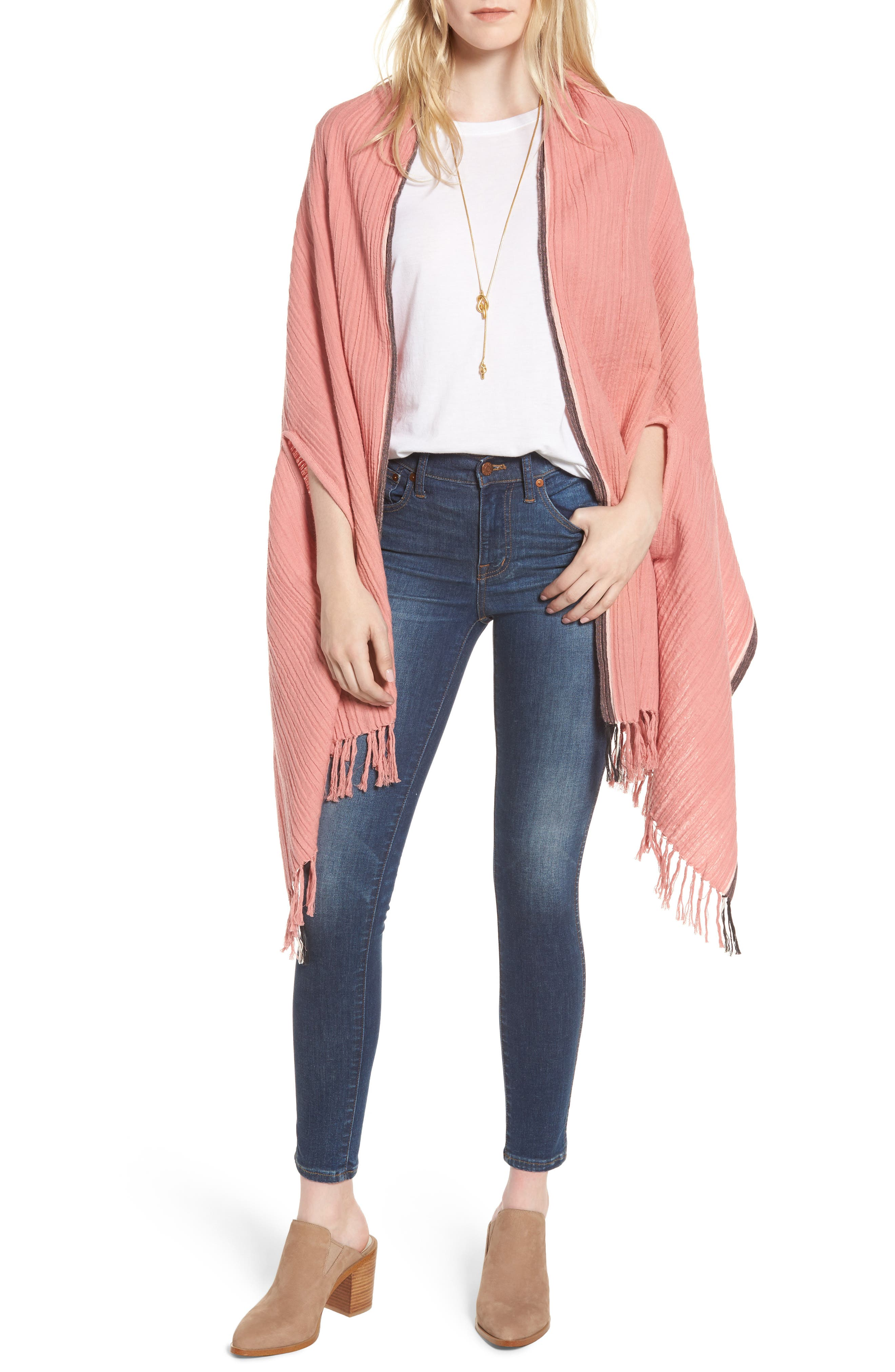 Selvedge Poncho Scarf,                         Main,                         color, Pink