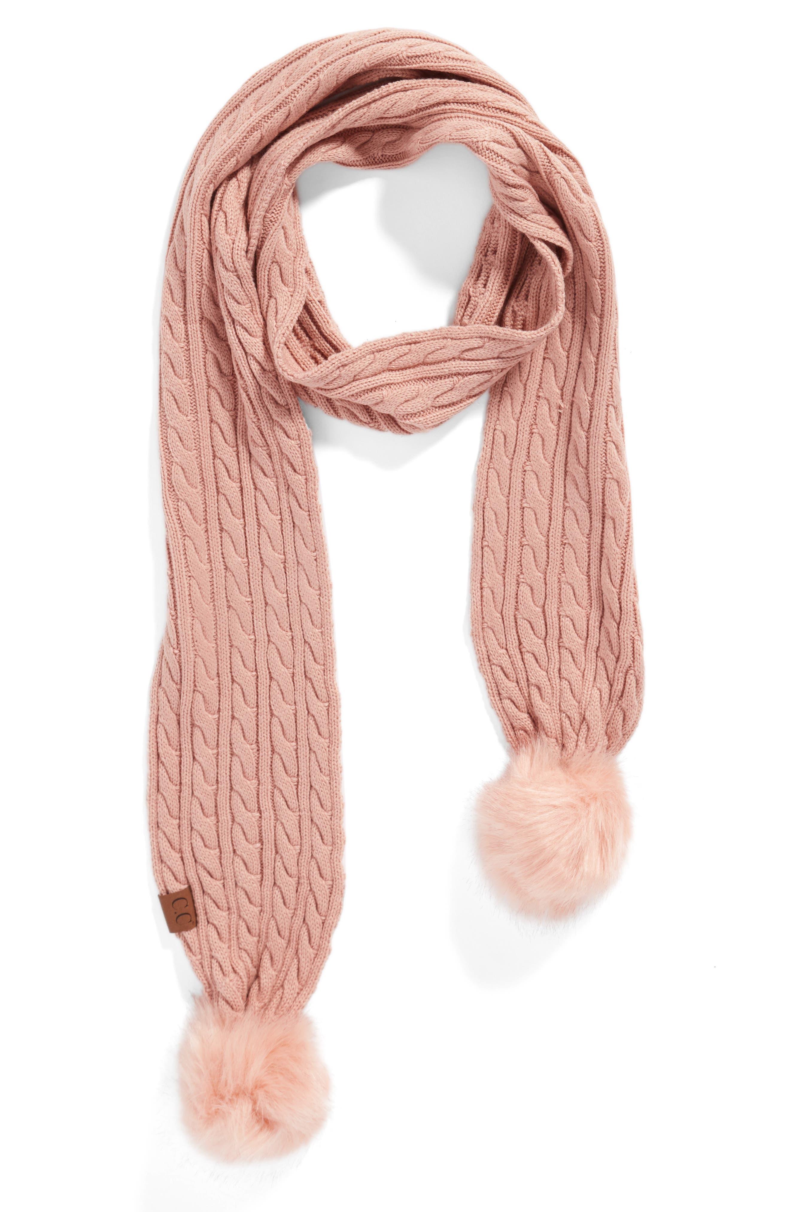 Main Image - CC Faux Fur Pompom Knit Scarf