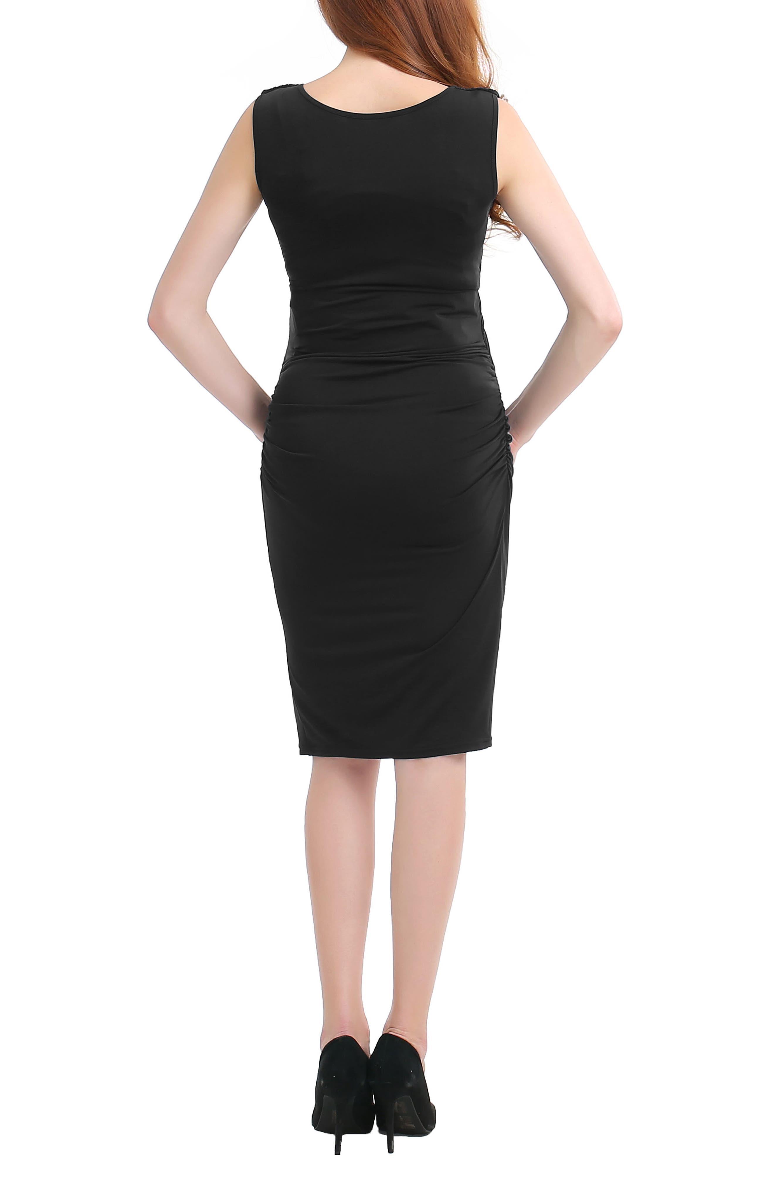 Bonnie Wrap Maternity Dress,                             Alternate thumbnail 2, color,                             Black