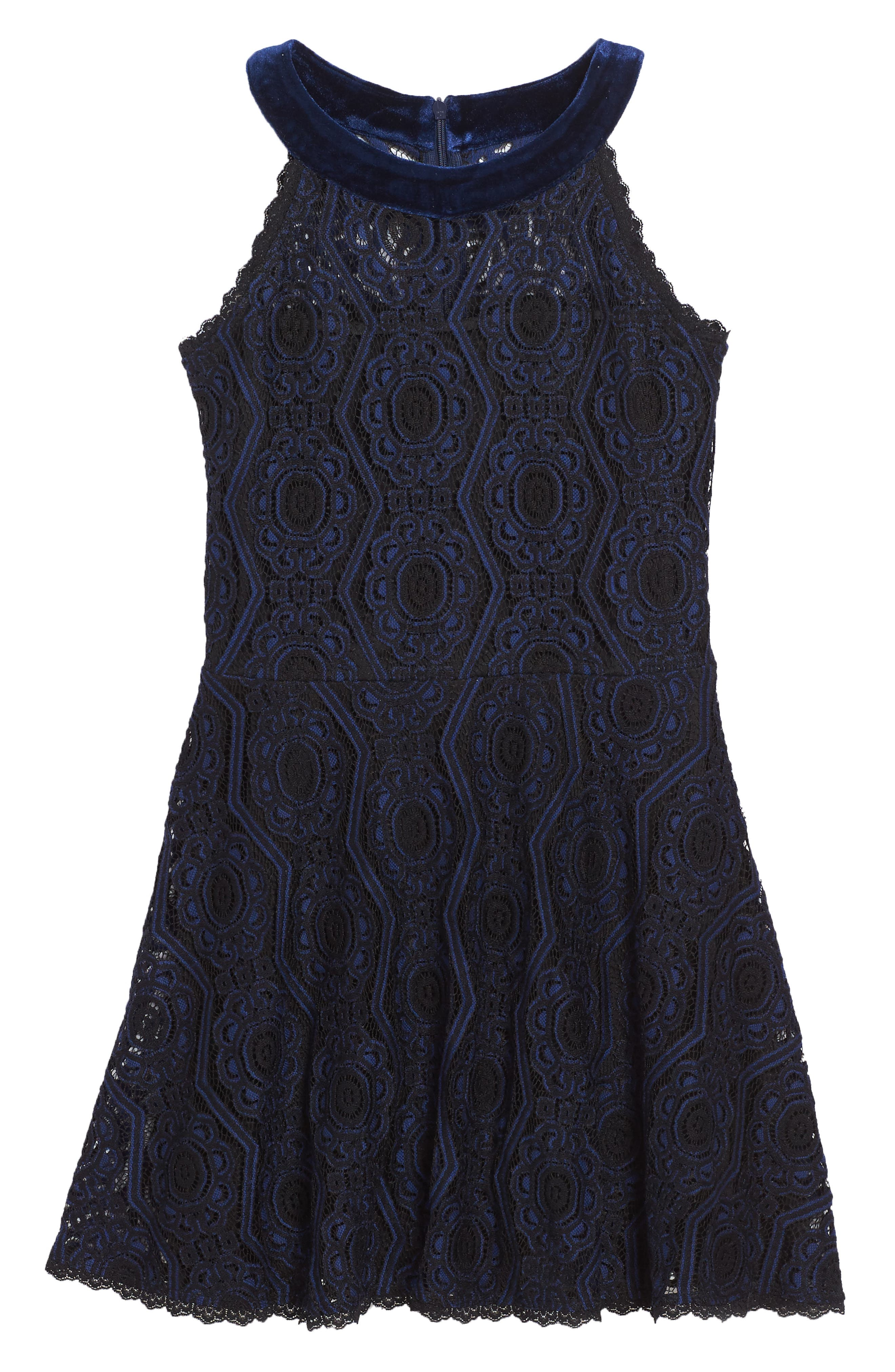 Lace Skater Dress,                         Main,                         color, Navy