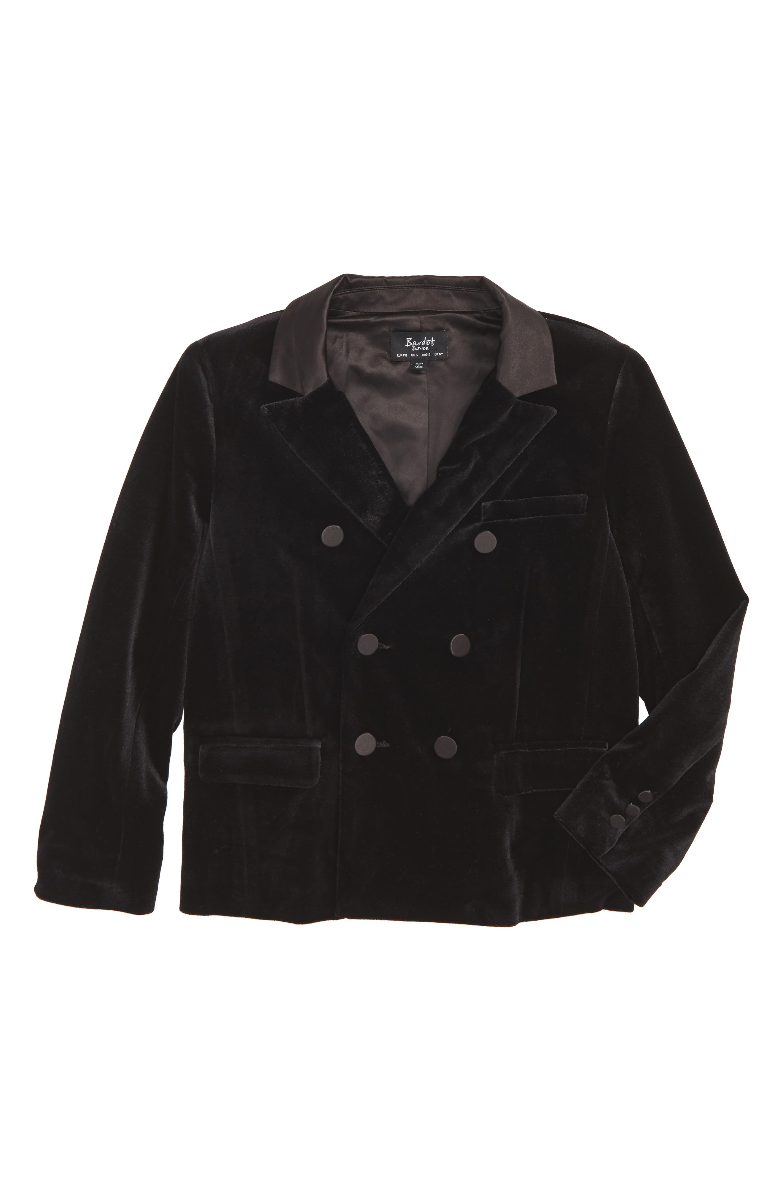 Bardot Junior Velvet Double Breasted Jacket (Toddler Boys & Little Boys)