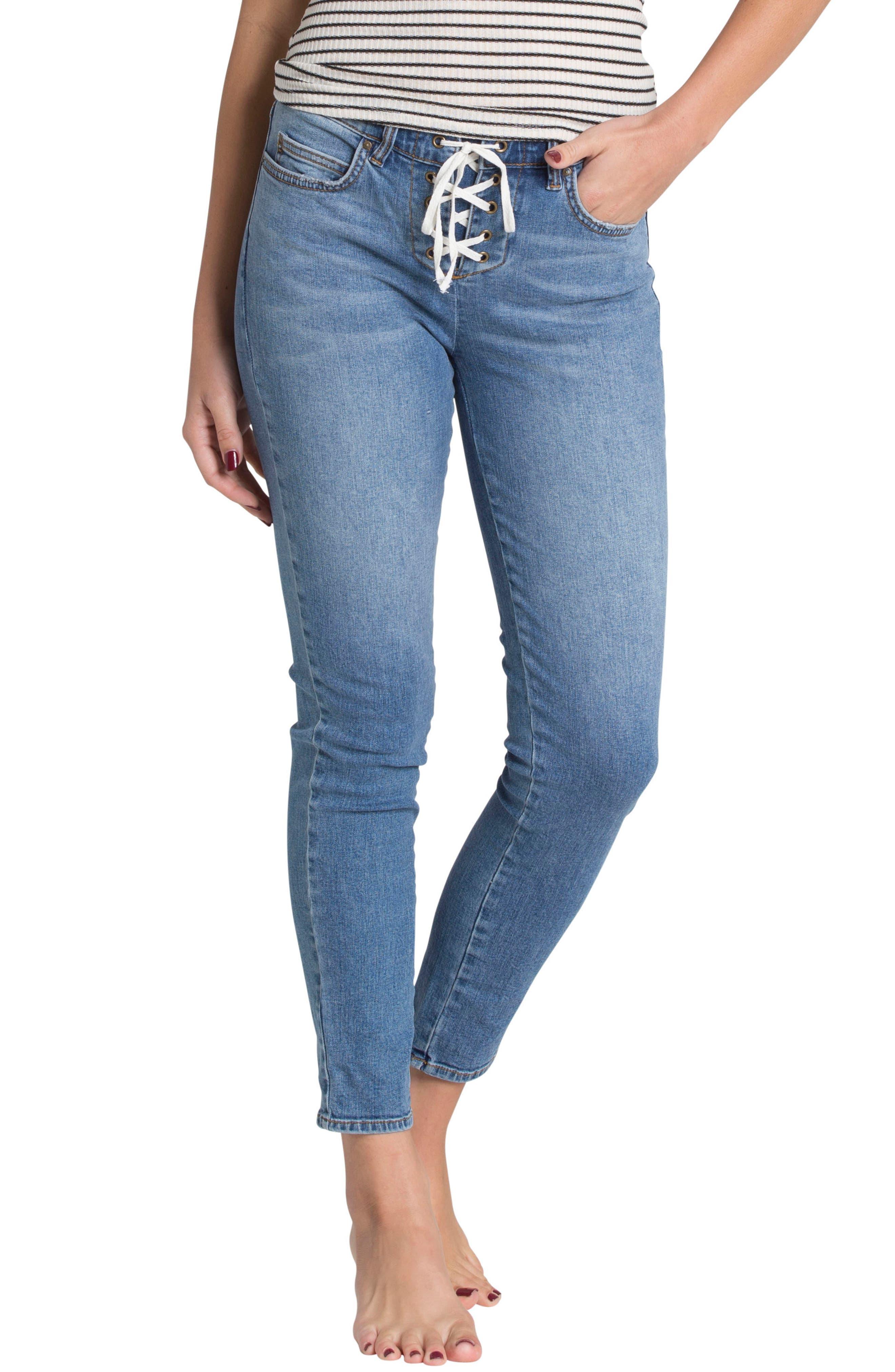 Side by Side Skinny Jeans,                         Main,                         color, Blue Tide