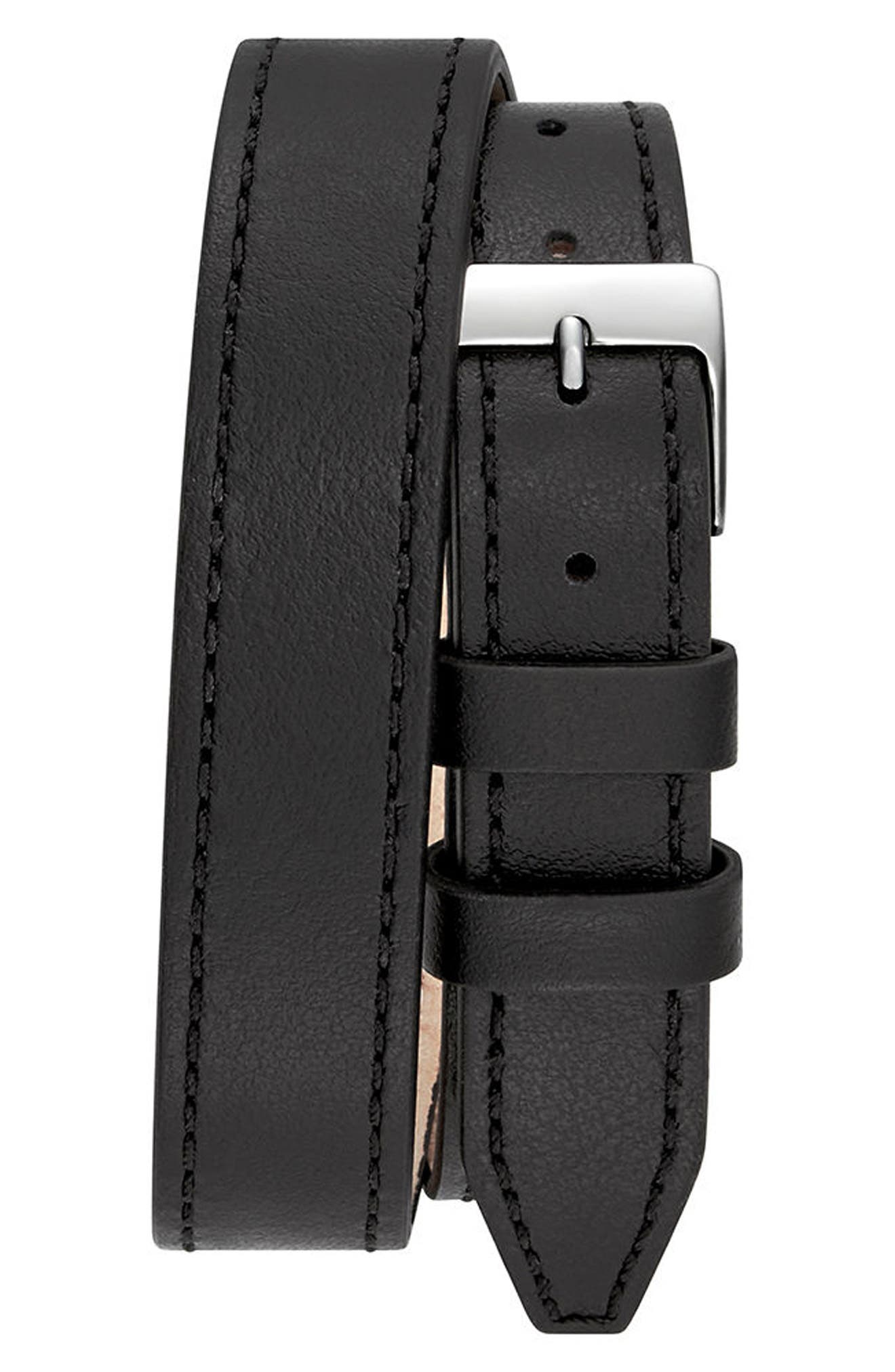 Moment Wrap Leather Strap Watch, 19mm x 30mm,                             Alternate thumbnail 3, color,                             Black/ Lapis/ Silver