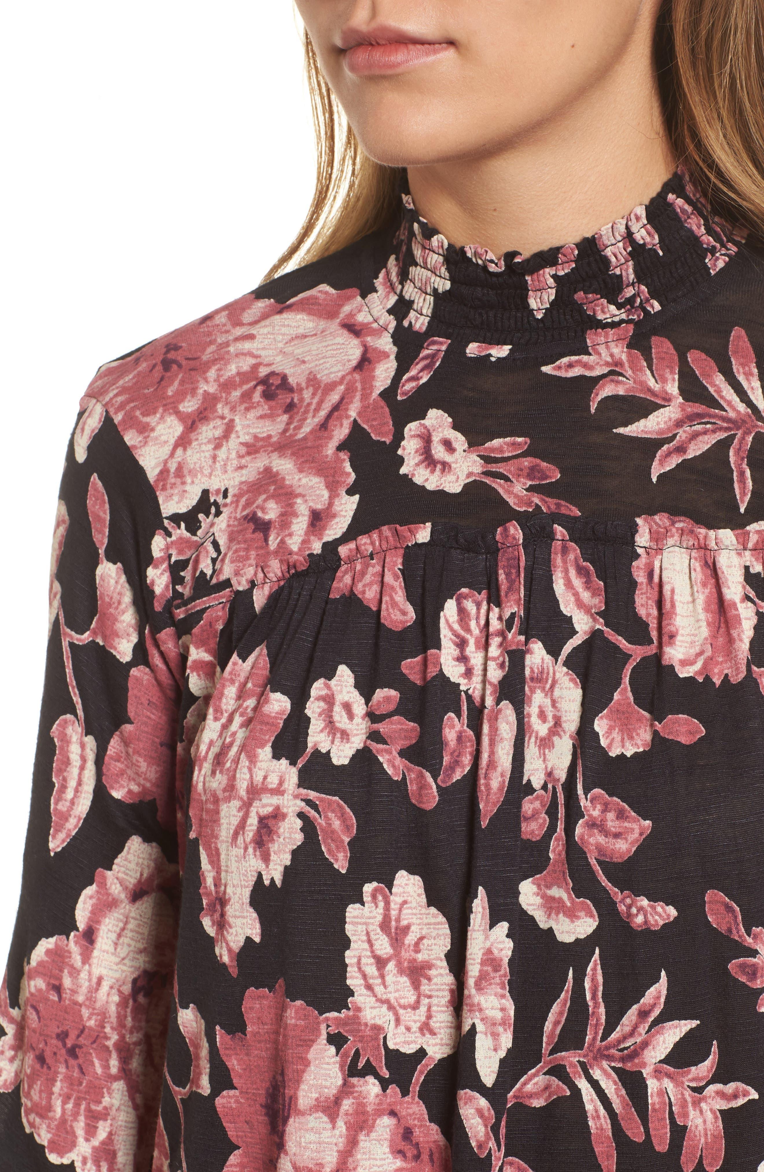 Alternate Image 4  - Lucky Brand Smock Neck Floral Top