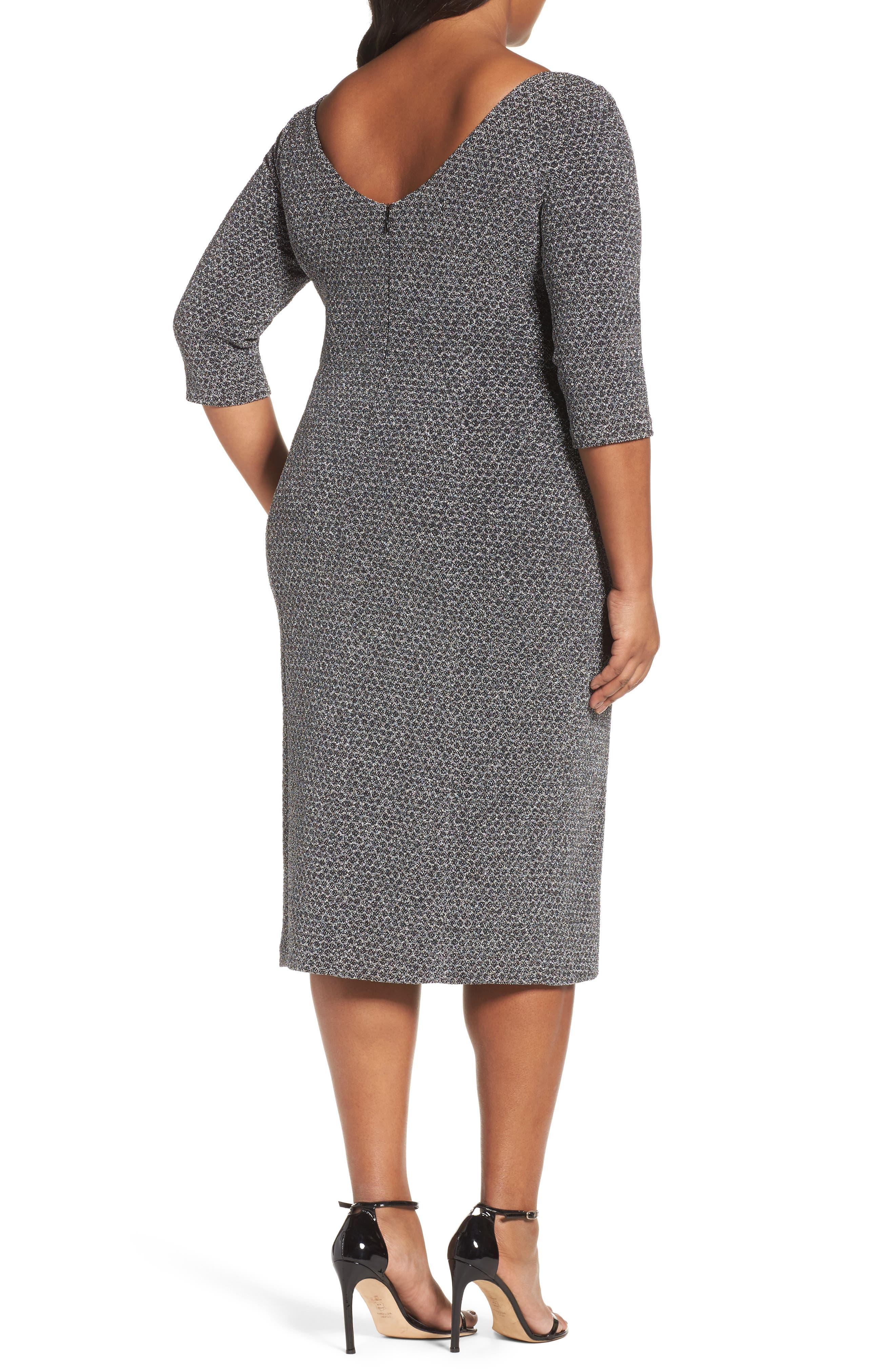 Glitter Knit Sheath Dress,                             Alternate thumbnail 3, color,                             Gunmetal/ Black
