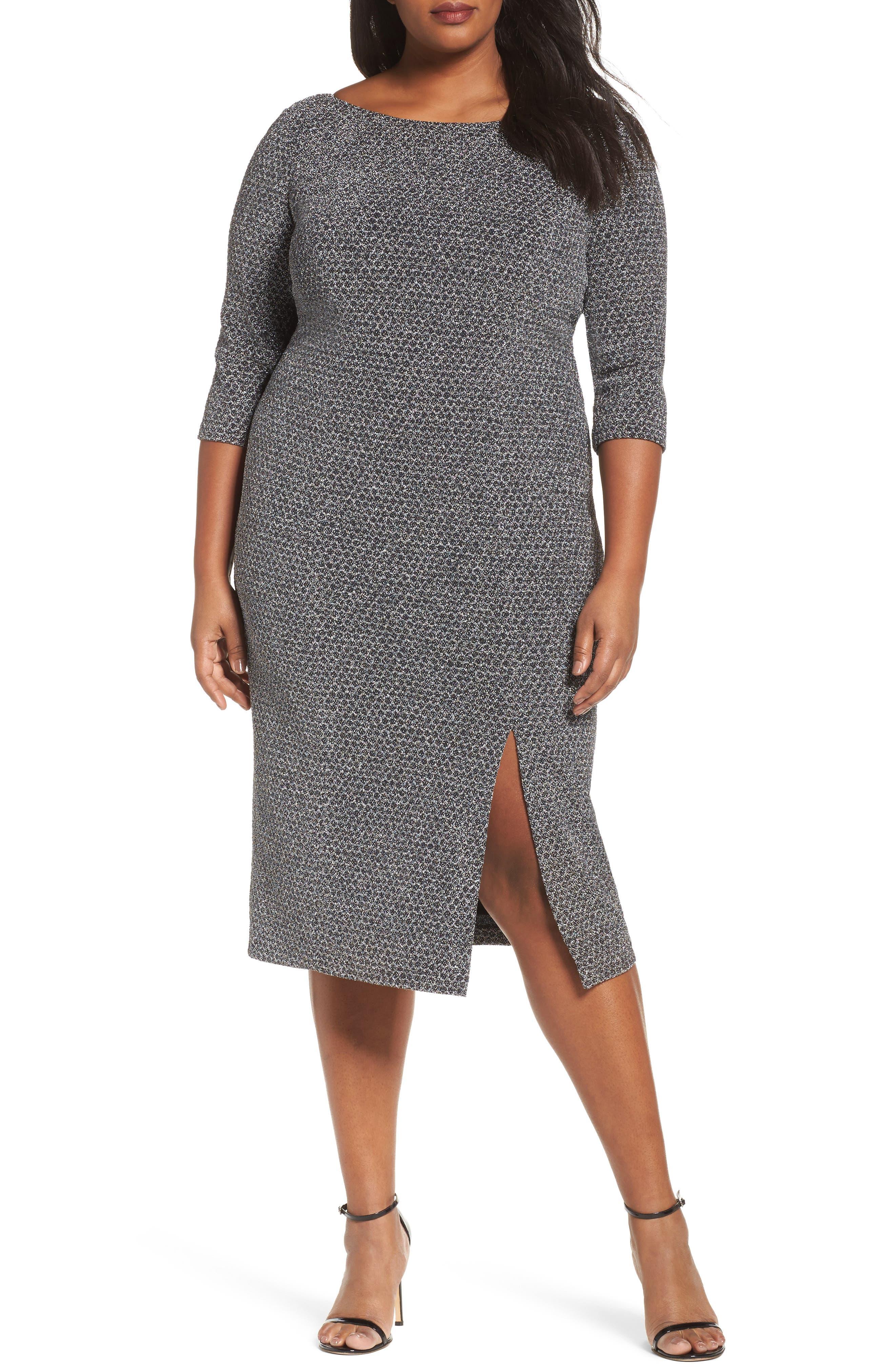 Glitter Knit Sheath Dress,                             Main thumbnail 1, color,                             Gunmetal/ Black