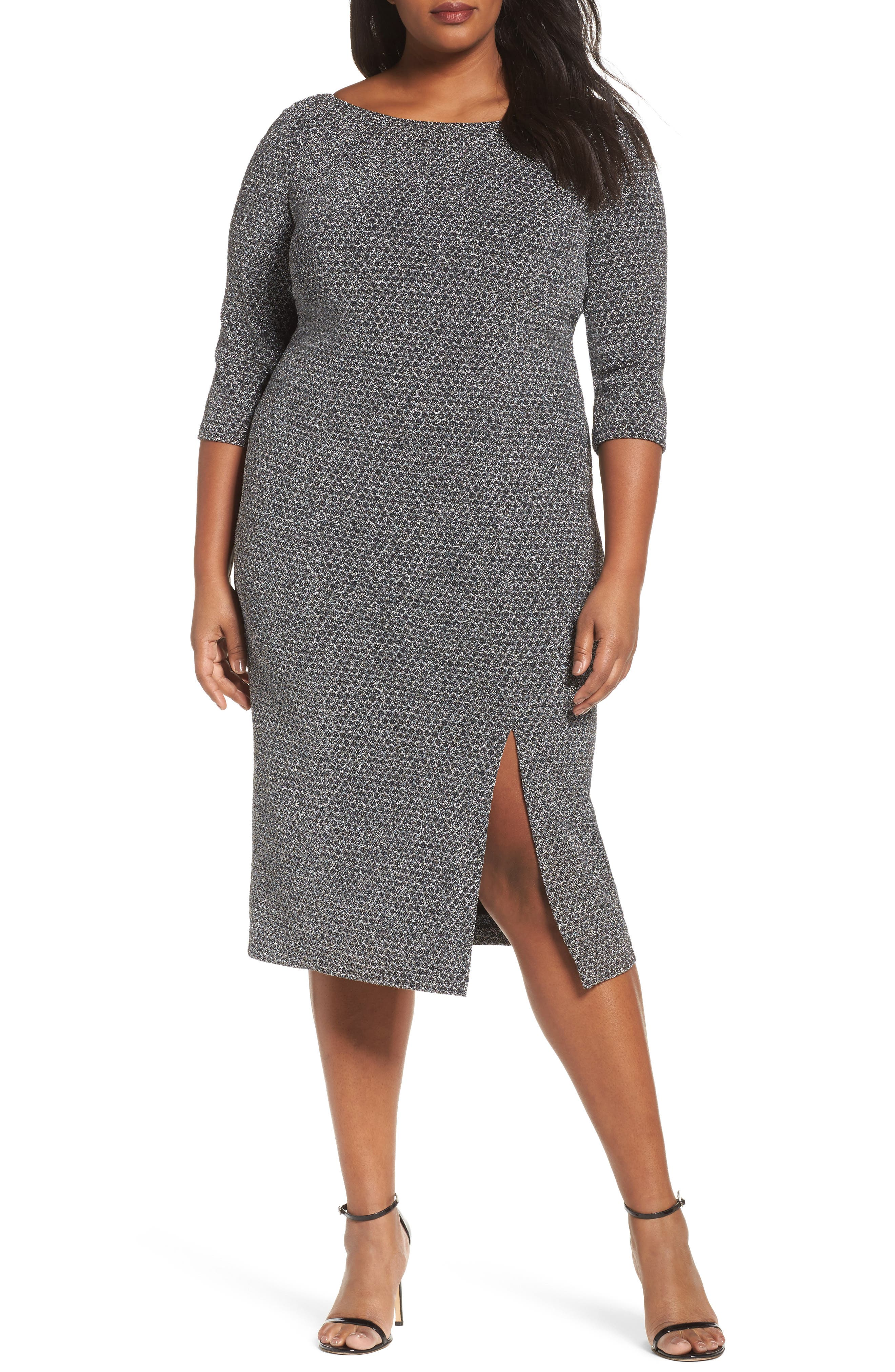 Glitter Knit Sheath Dress,                         Main,                         color, Gunmetal/ Black