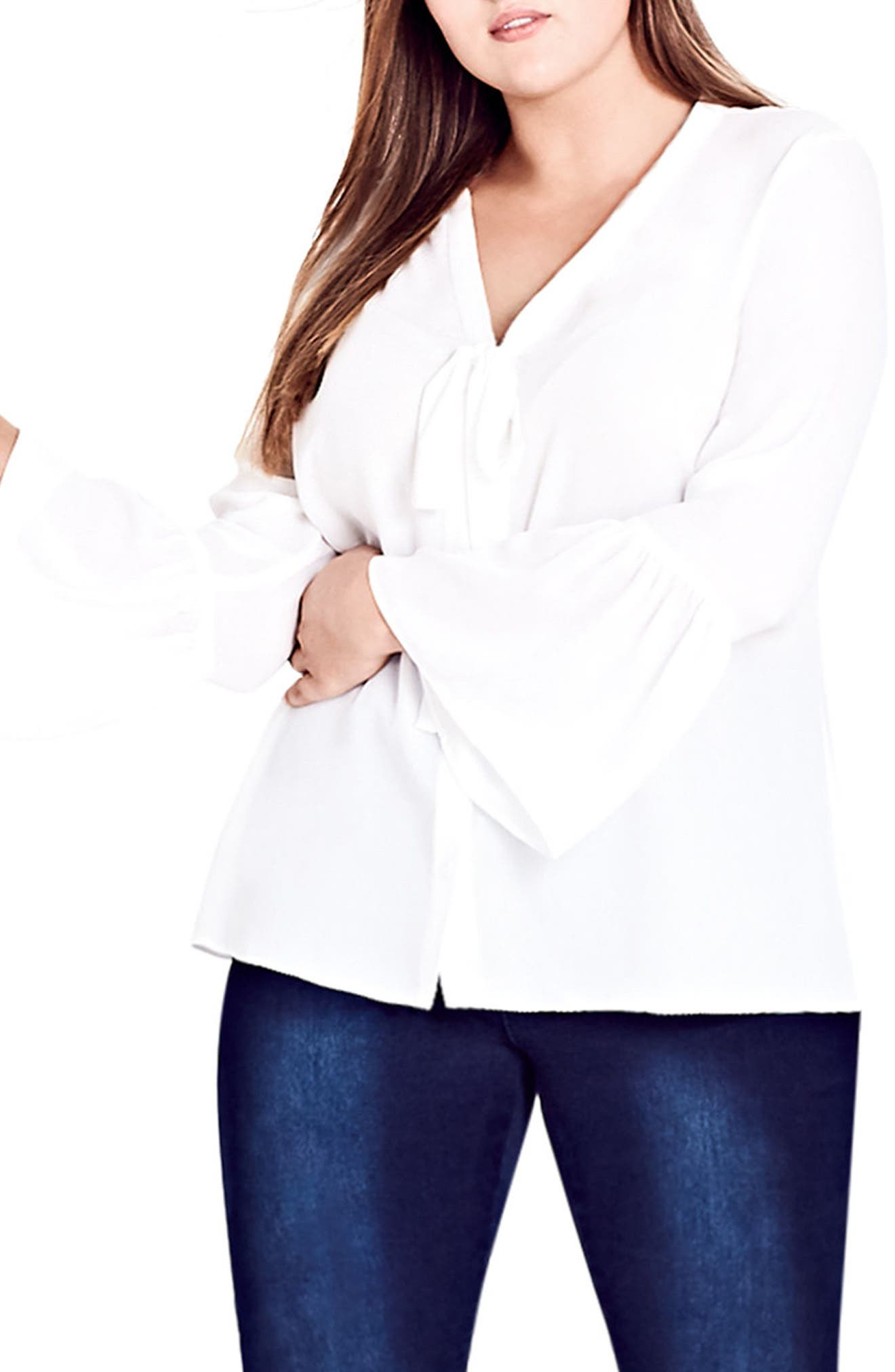 Alternate Image 1 Selected - City Chic Office Fling Shirt (Plus Size)
