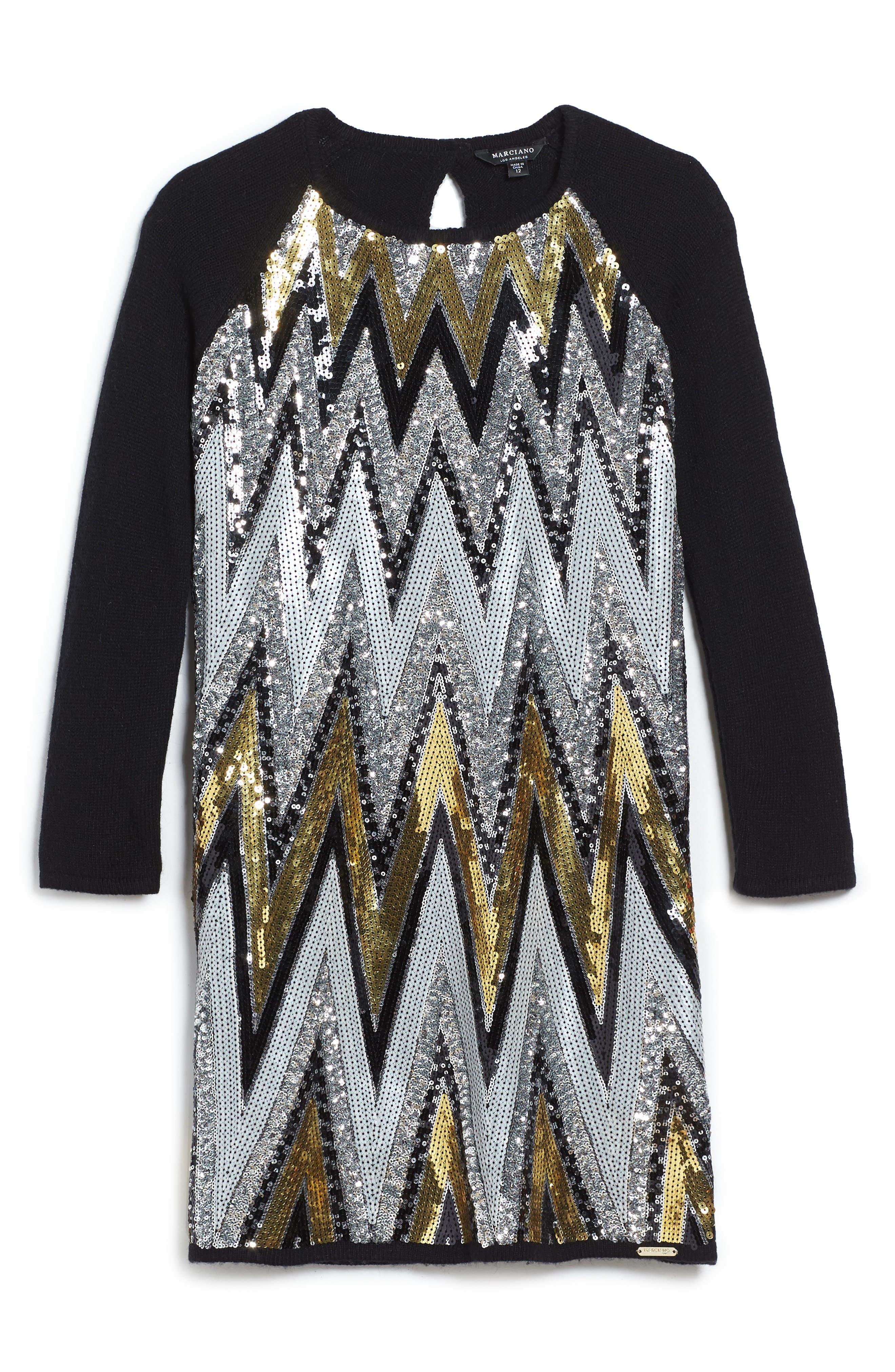 Chevron Sequin Sweater Dress,                         Main,                         color, Black Multi