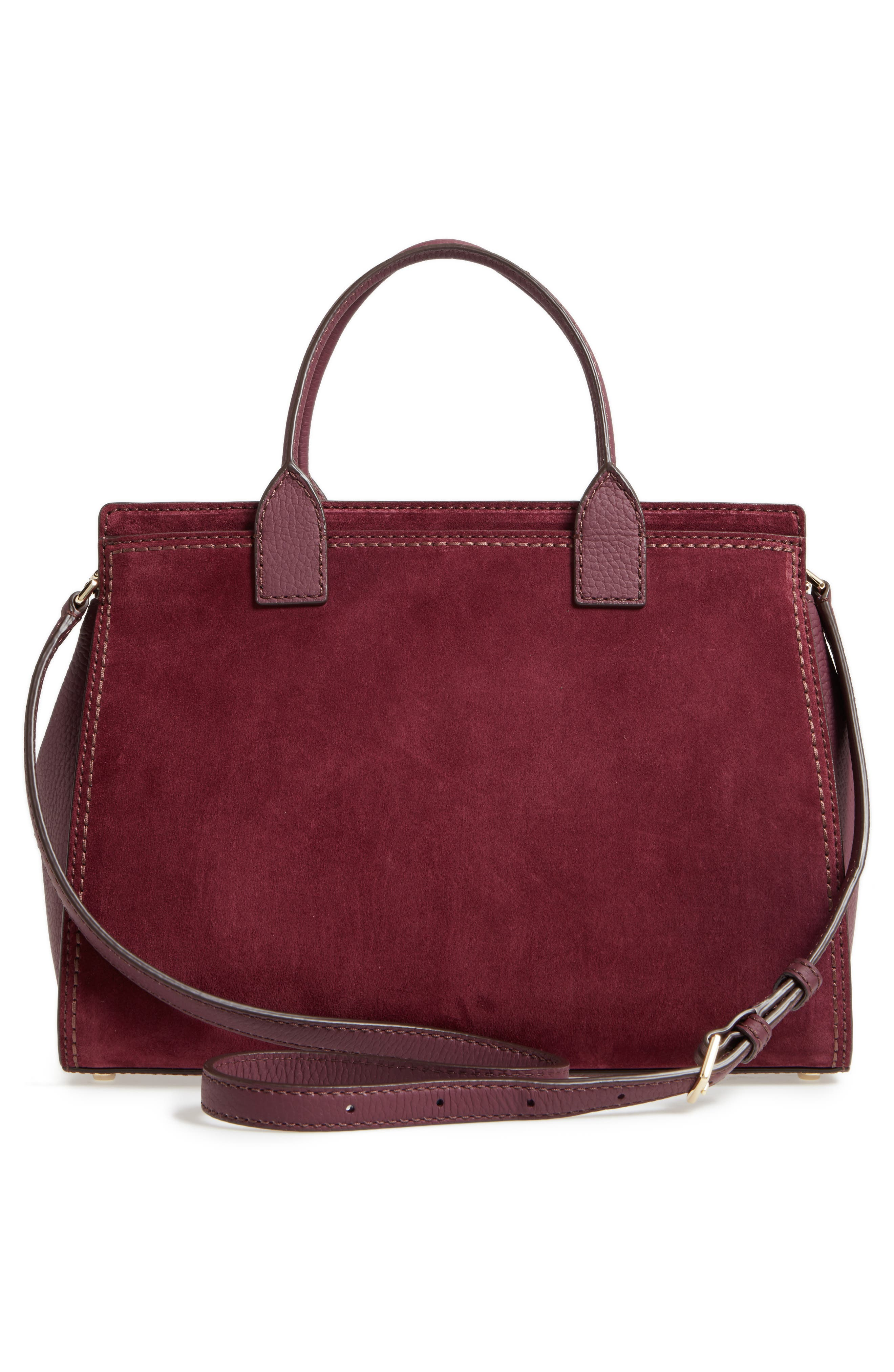 dunne lane lake suede satchel,                             Alternate thumbnail 3, color,                             Deep Wine