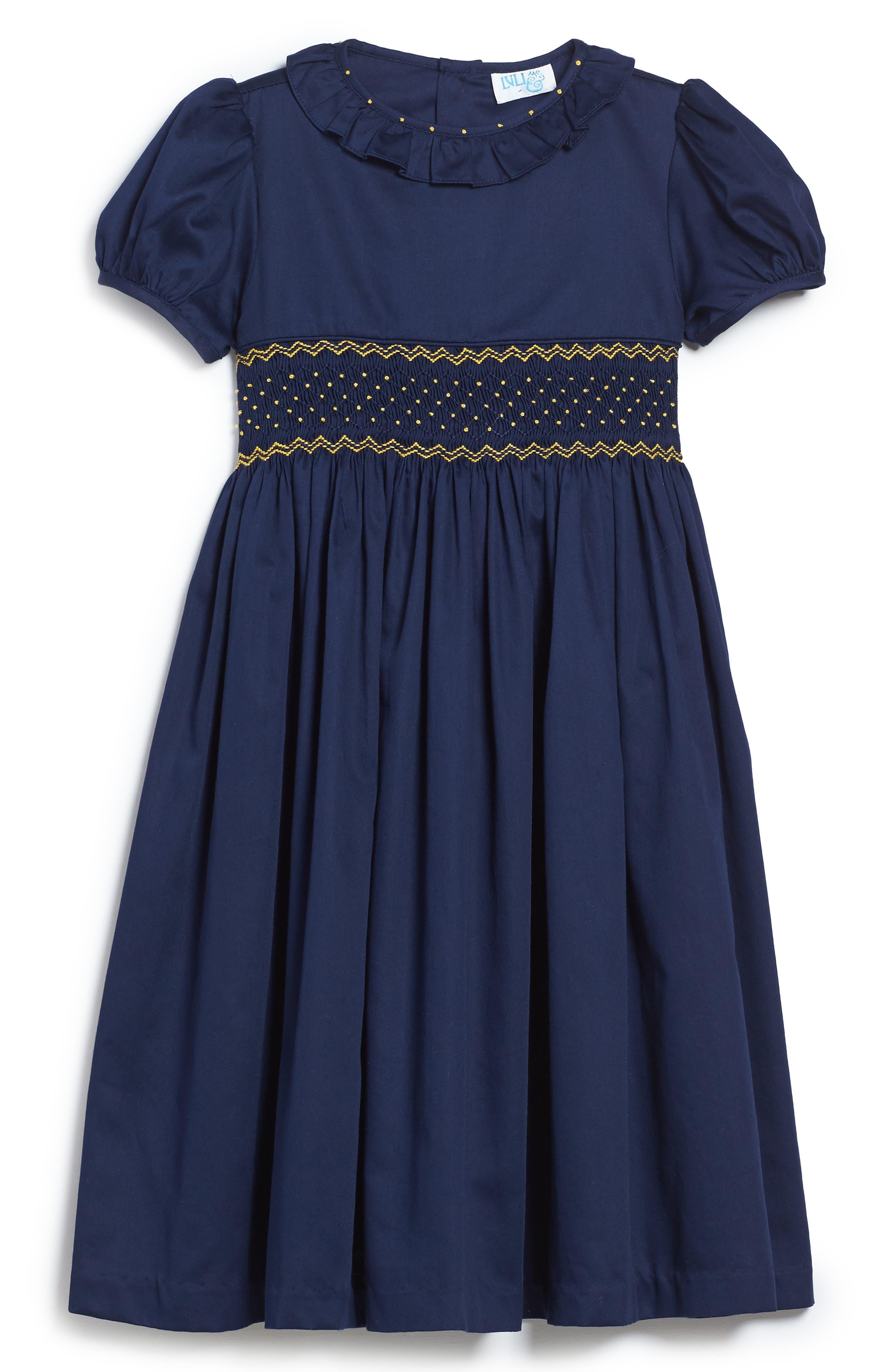 Smocked Dress,                             Main thumbnail 1, color,                             Navy/ Gold