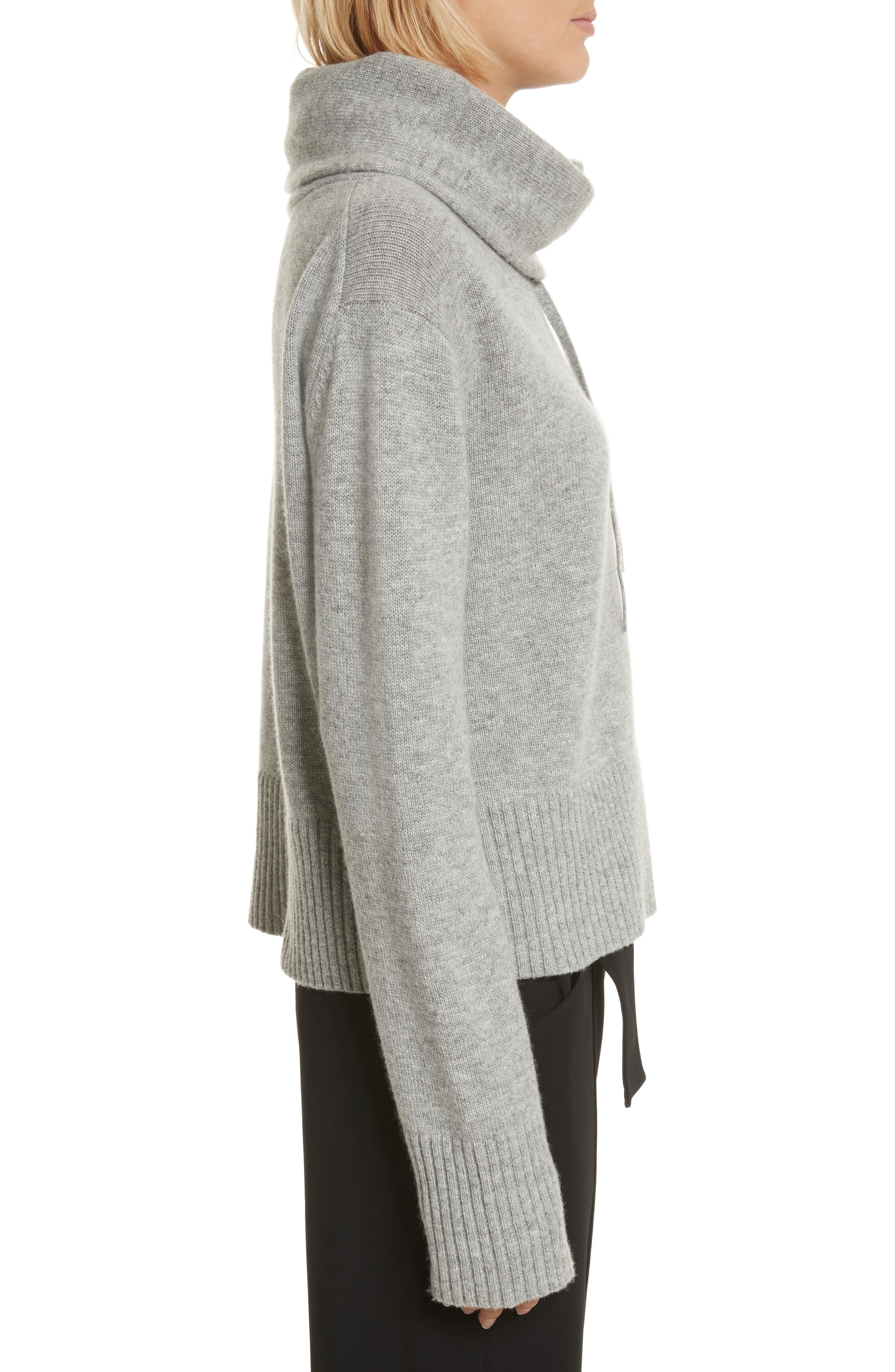 Archie Funnel Neck Wool & Cashmere Sweater,                             Alternate thumbnail 3, color,                             Husky