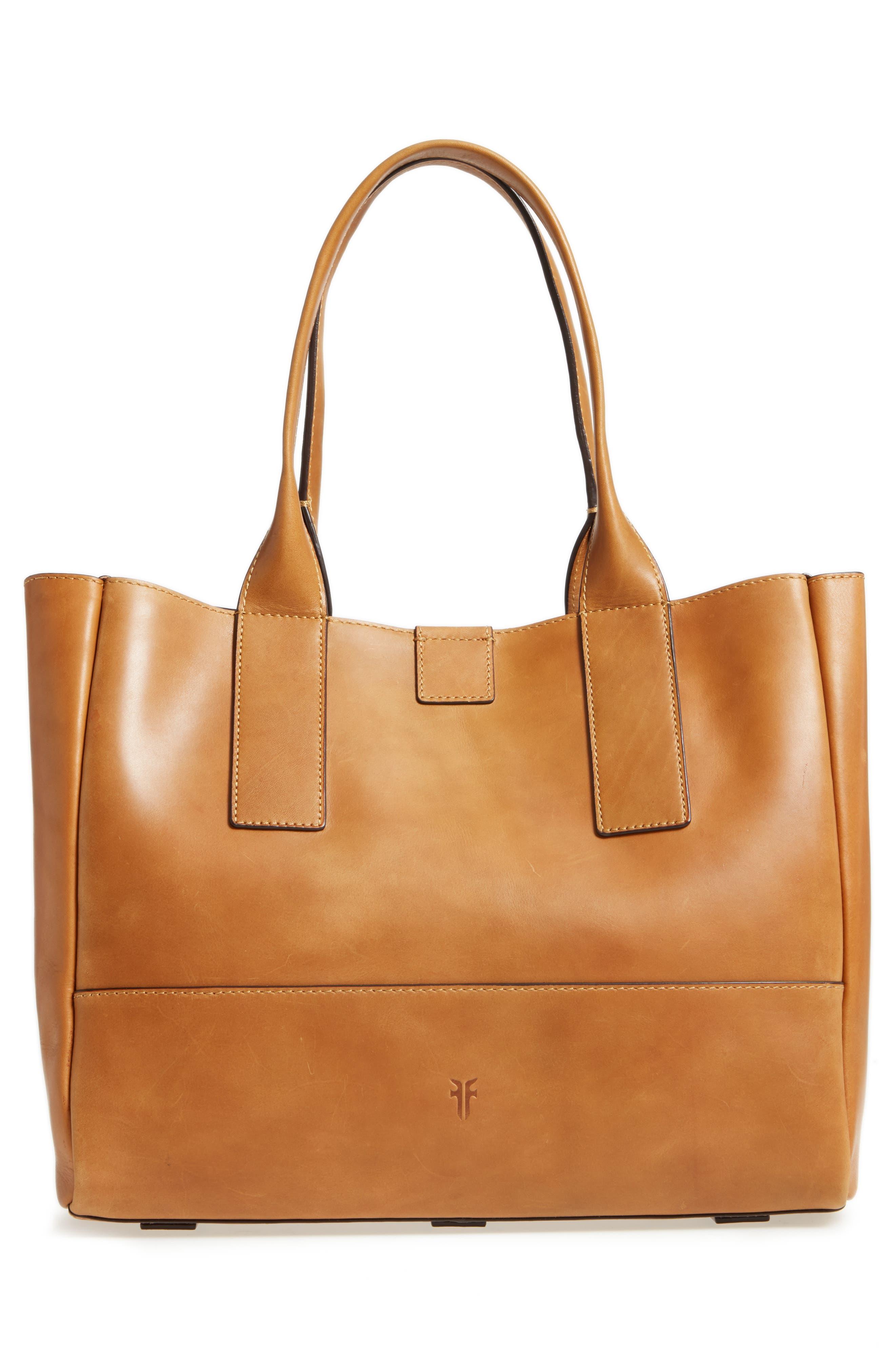 Ilana Harness Leather Shopper,                             Alternate thumbnail 3, color,                             Cognac