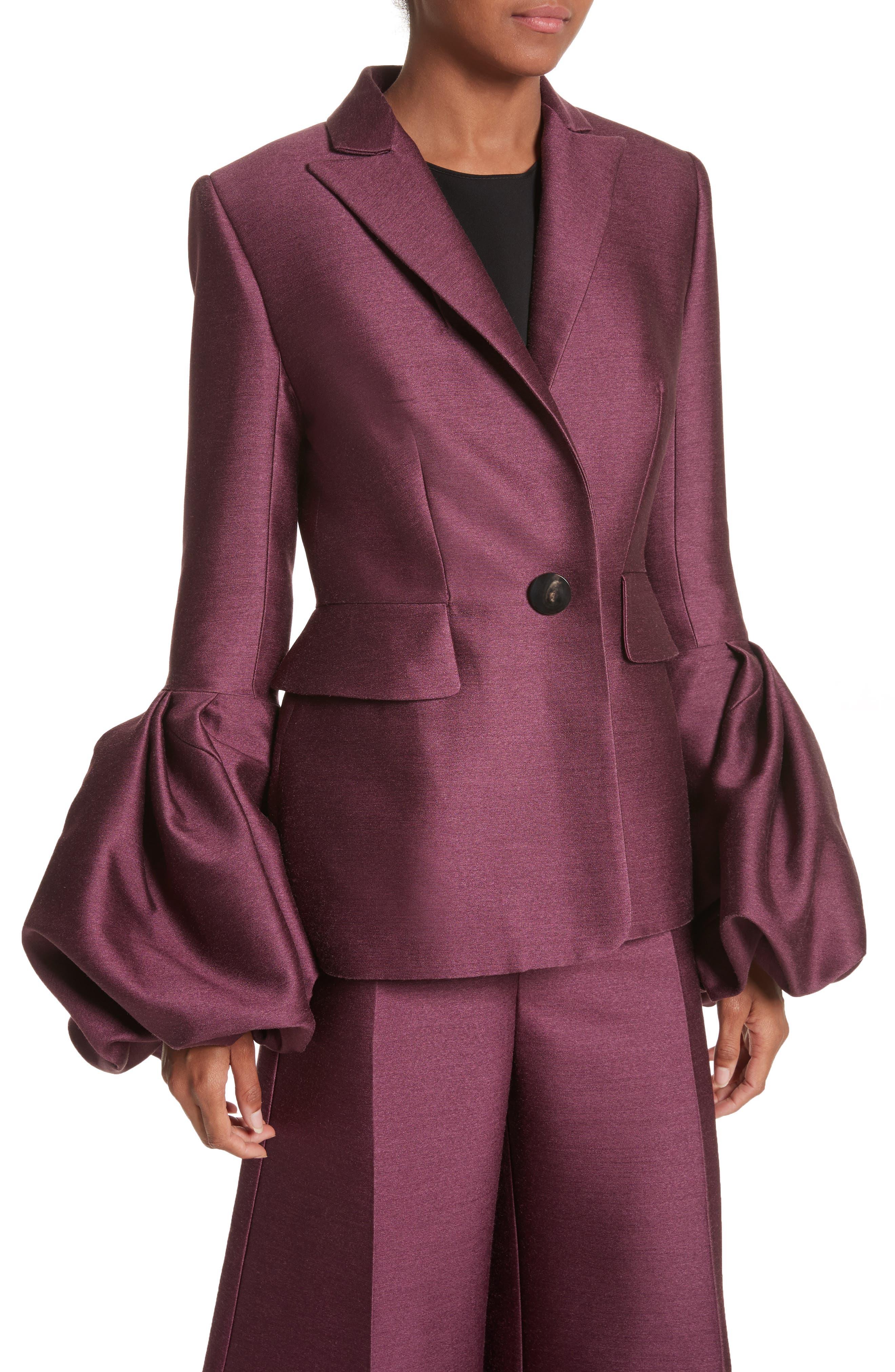 Narika Wool & Silk Jacket,                             Alternate thumbnail 3, color,                             Plum