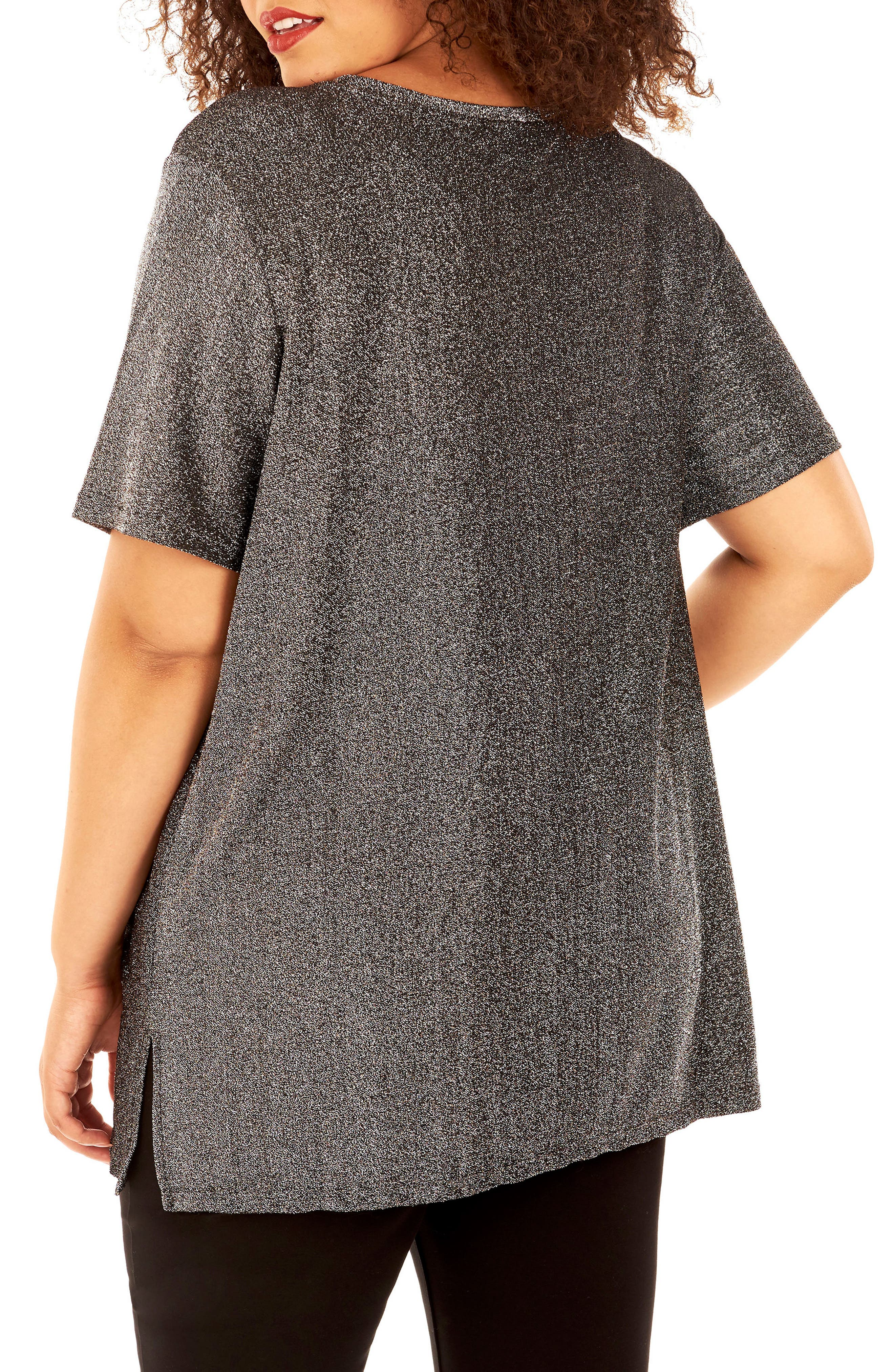 Flocked Metallic Knit Tee,                             Alternate thumbnail 3, color,                             Silver