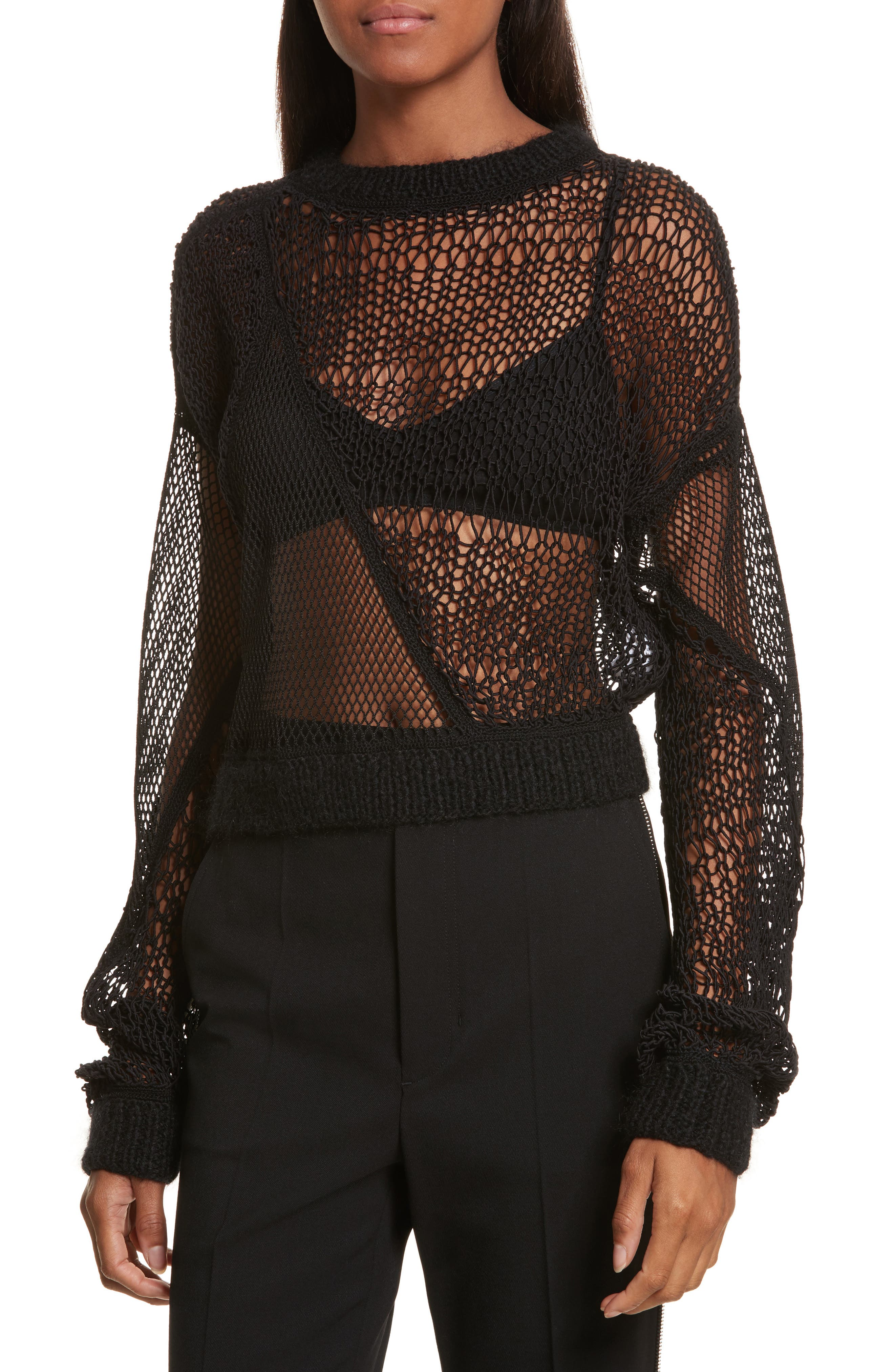Siouxie Crew Fishnet Patchwork Sweater,                             Main thumbnail 1, color,                             Black