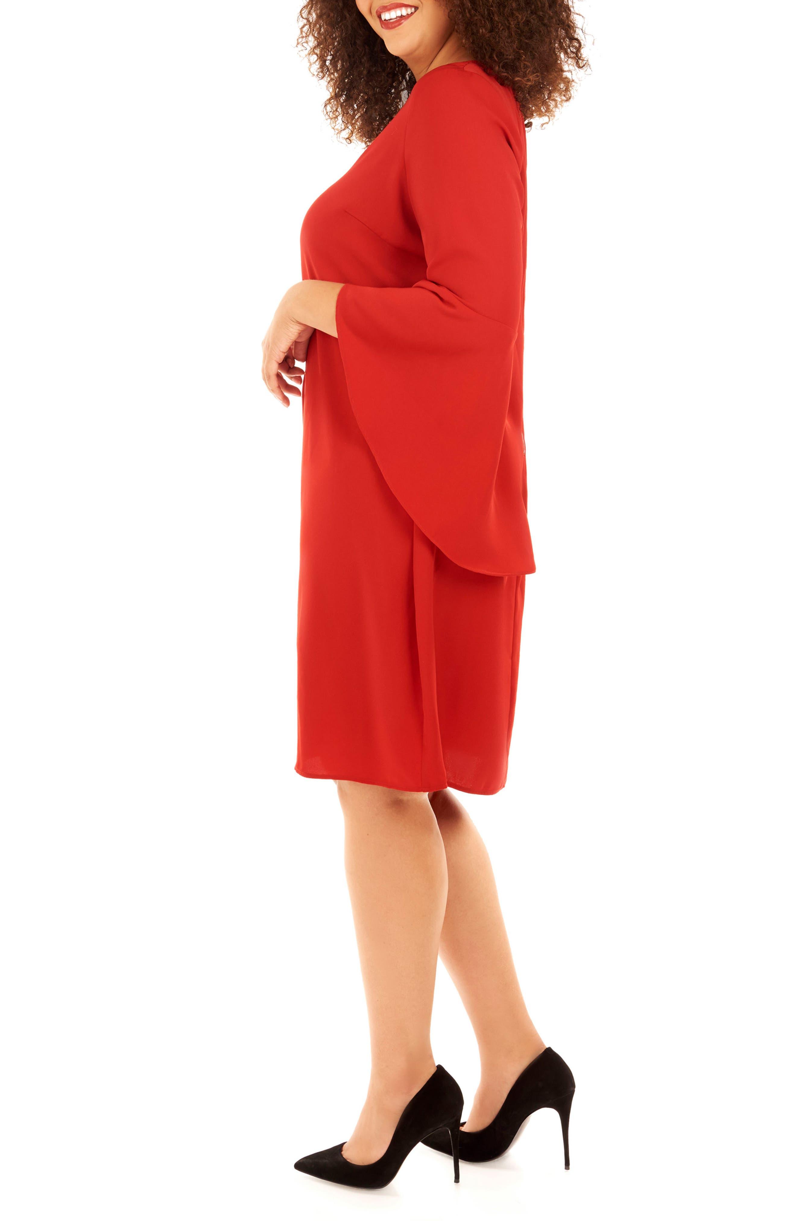 Bell Sleeve Shift Dress,                             Alternate thumbnail 4, color,                             Haute Red