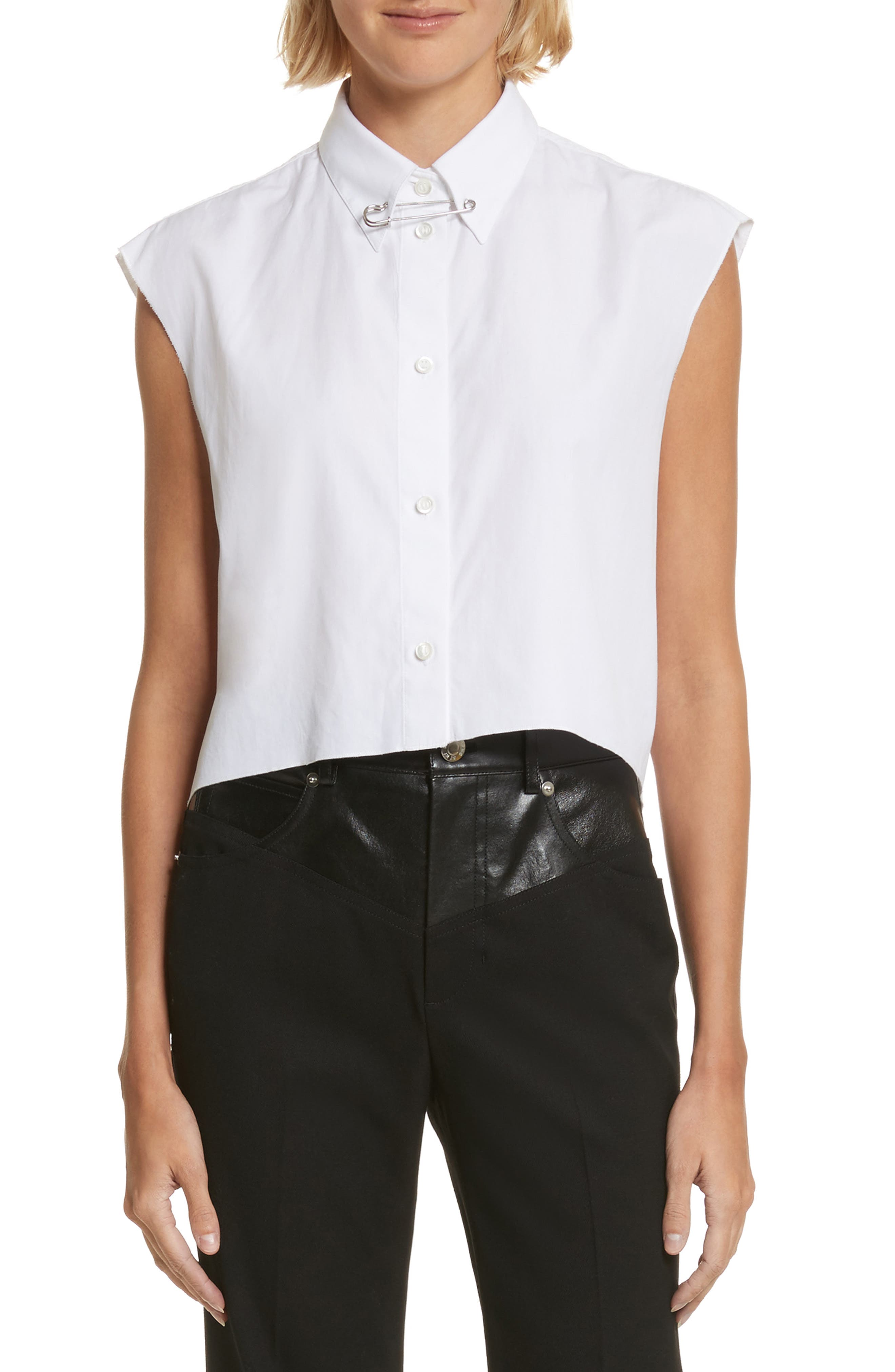Alternate Image 1 Selected - Helmut Lang Safety Pin Cotton Poplin Crop Top