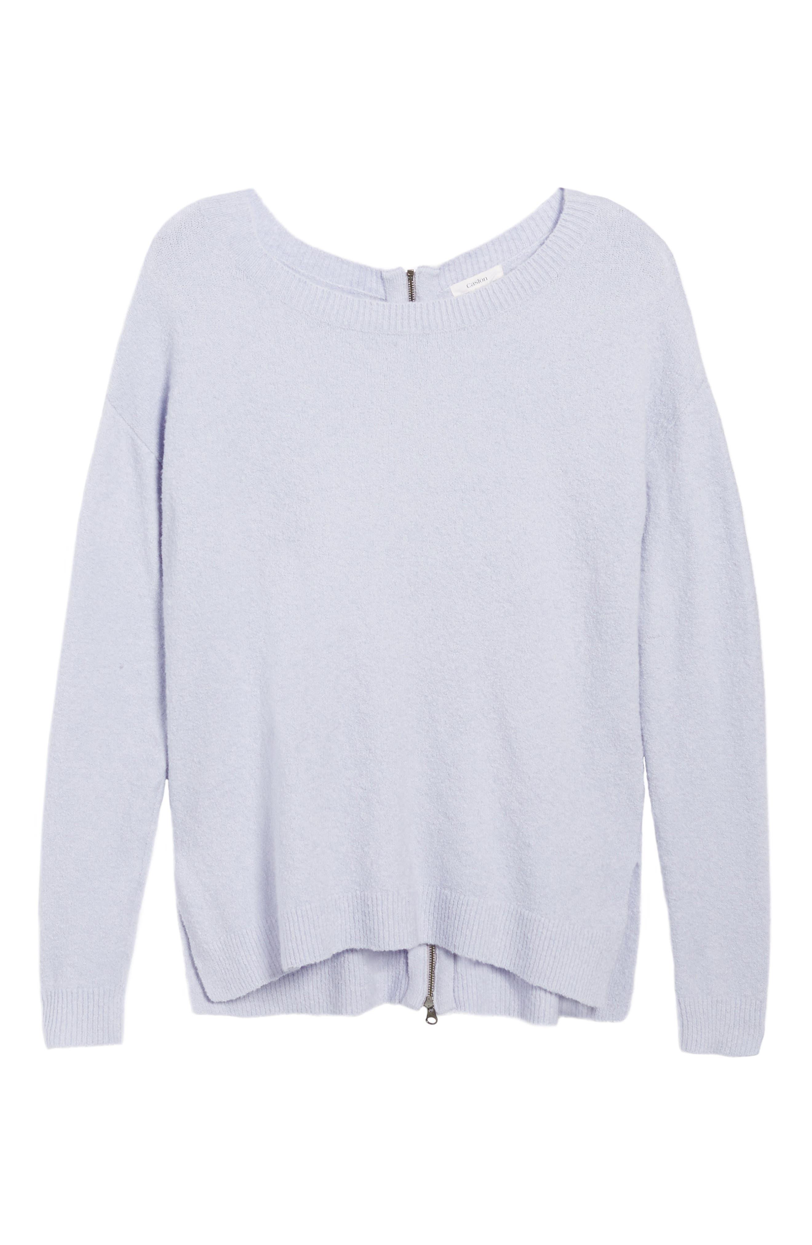 Main Image - Caslon® Back Zip High/Low Sweater (Regular & Petite)