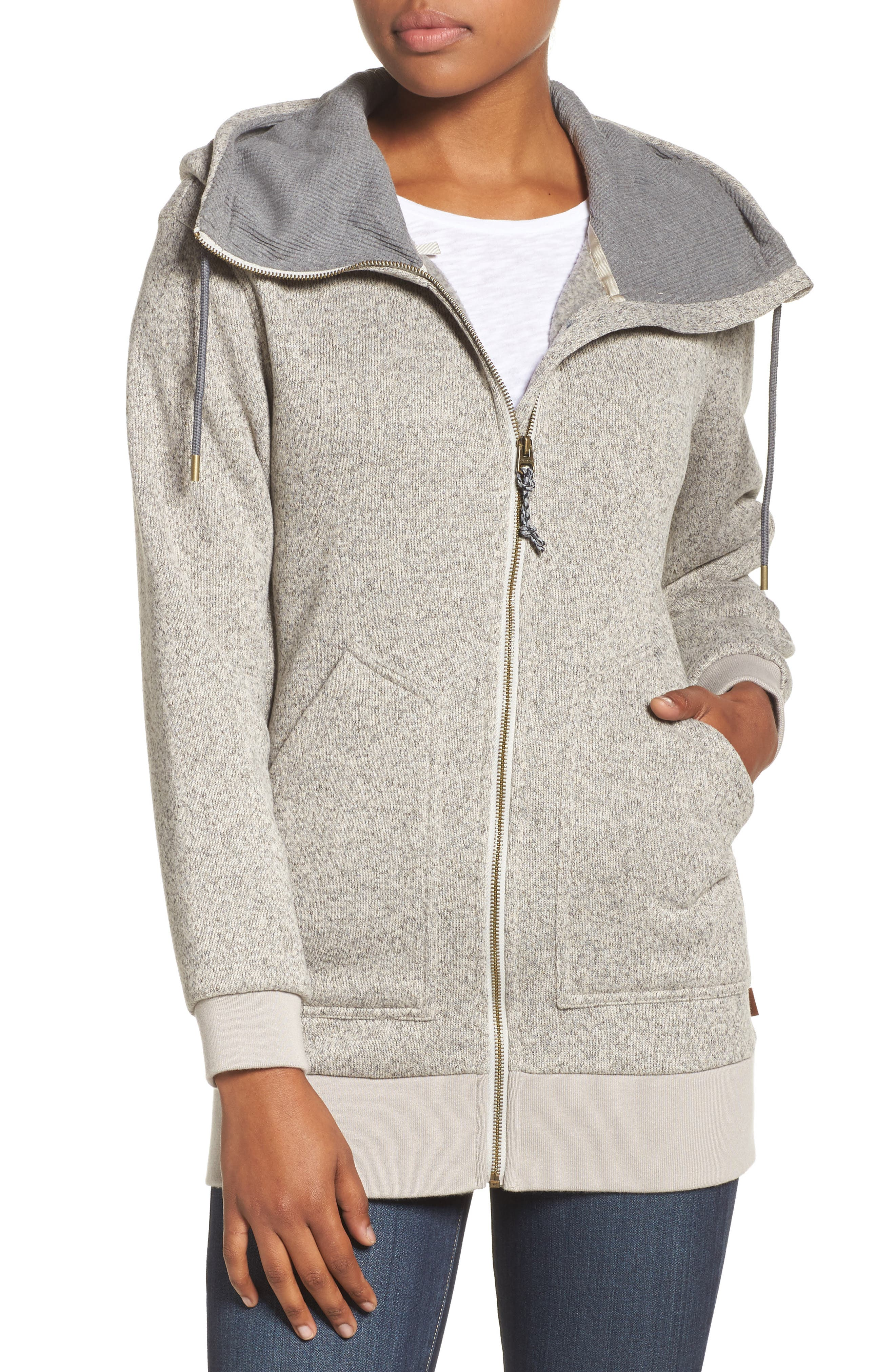 Minxy DRYRIDE Thermex Sweater Knit Fleece Hoodie,                         Main,                         color, Dove Heather