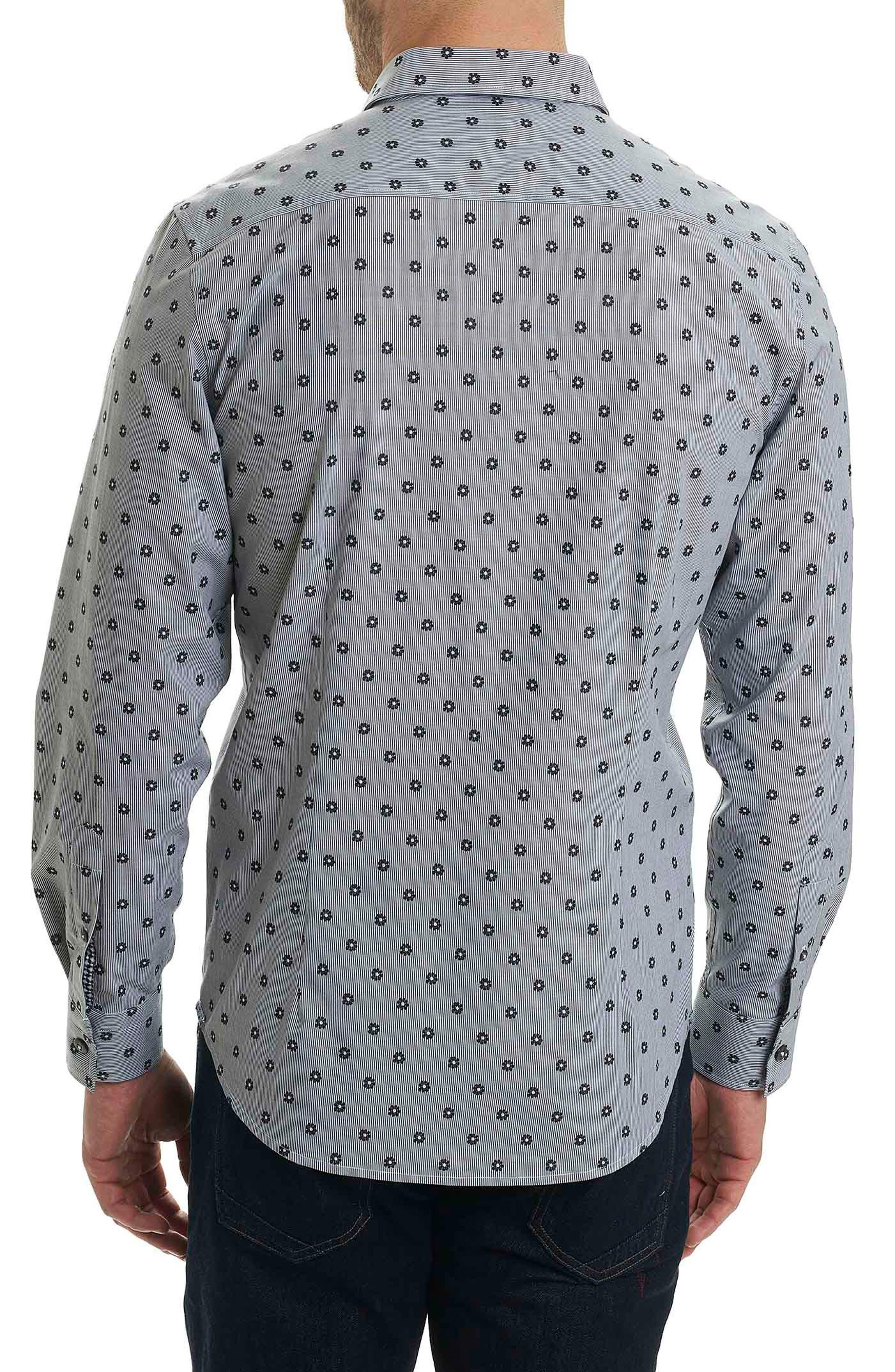 Ned Slim Fit Floral Stripe Sport Shirt,                             Alternate thumbnail 2, color,                             Black