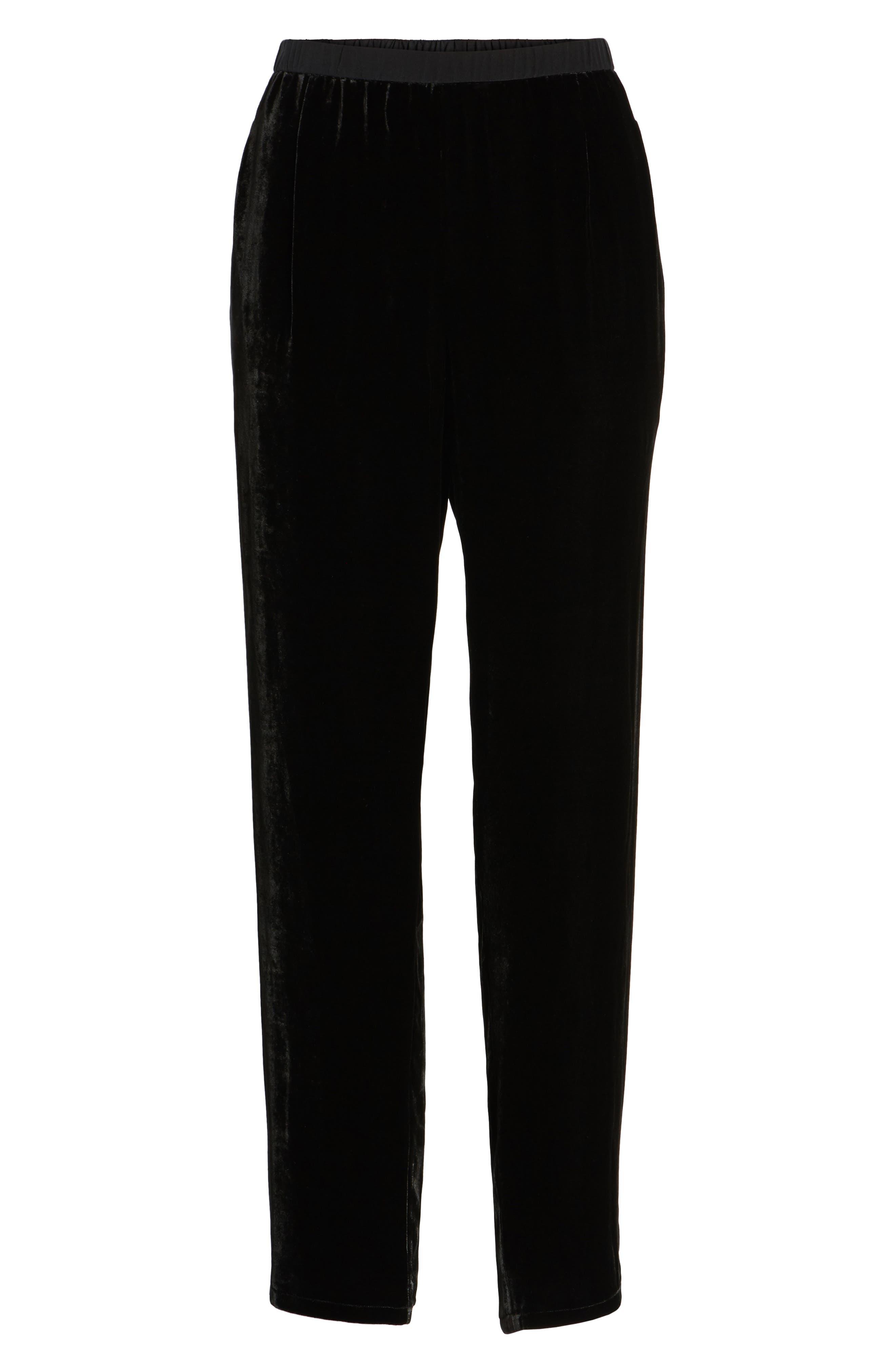 Velvet Ankle Pants,                             Alternate thumbnail 6, color,                             Black
