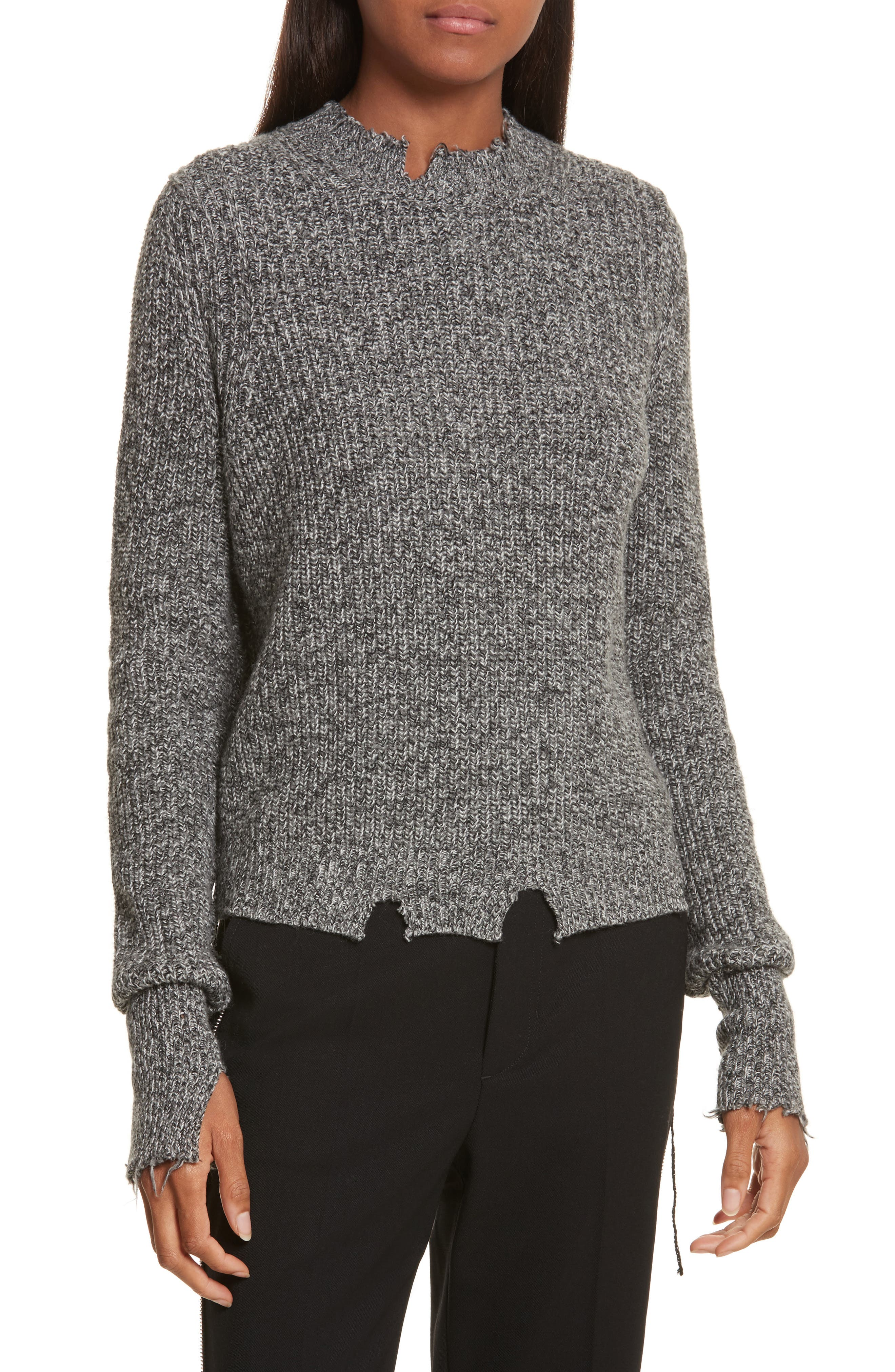 Grunge Marl Sweater,                         Main,                         color, Charcoal