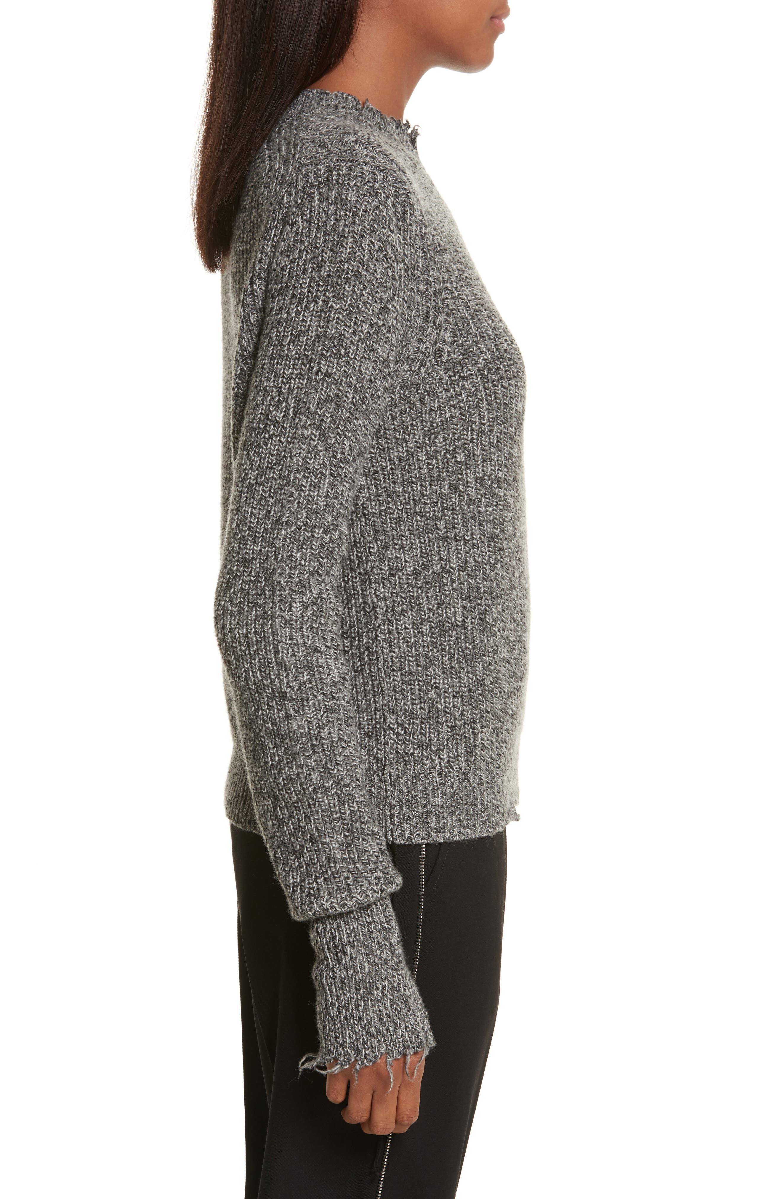 Grunge Marl Sweater,                             Alternate thumbnail 3, color,                             Charcoal