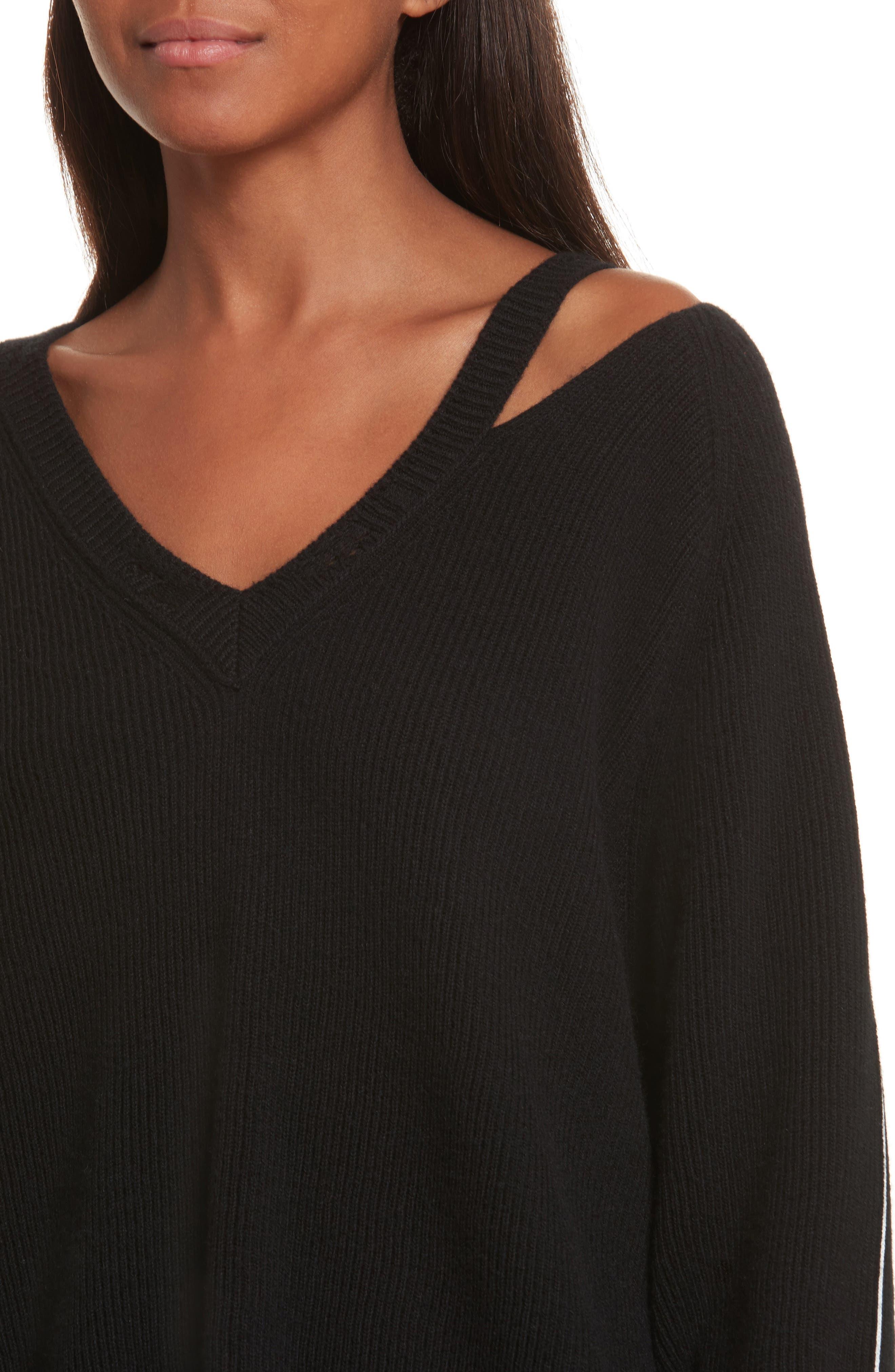 Distressed V-Neck Sweater,                             Alternate thumbnail 4, color,                             Black