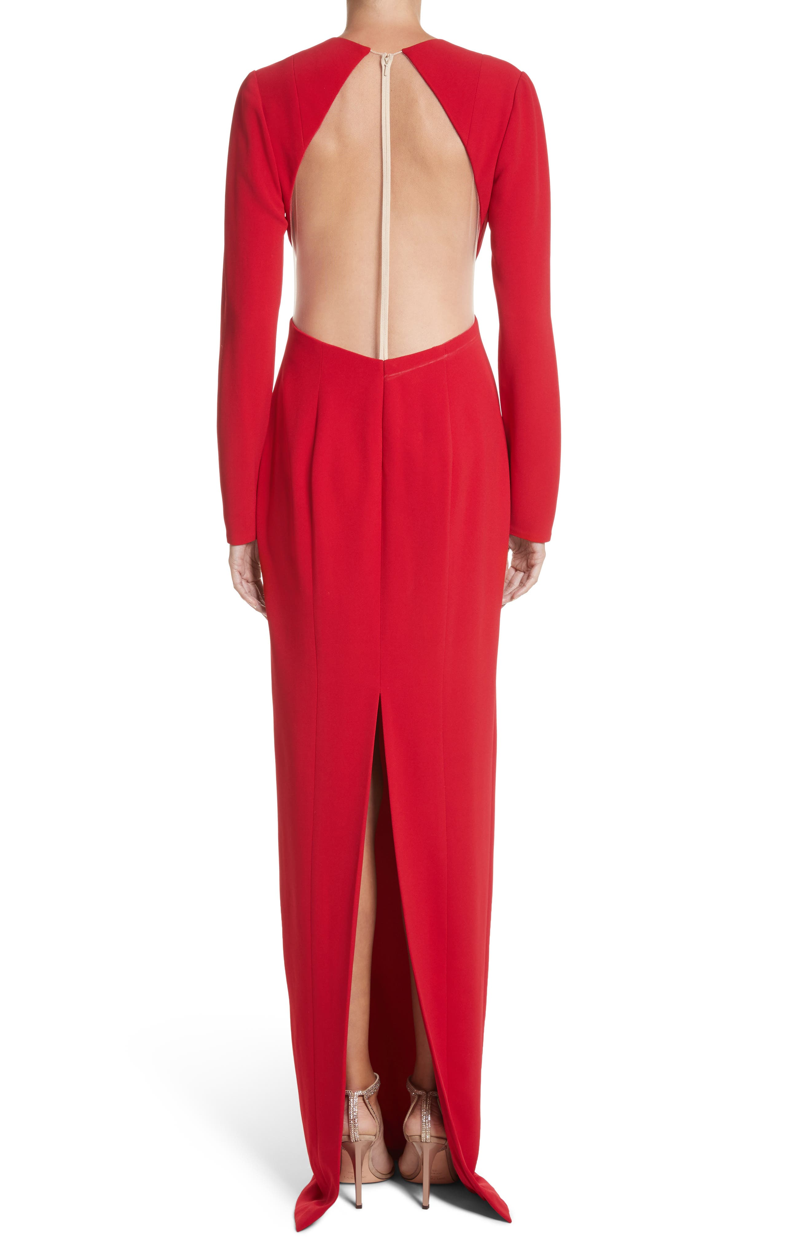 Illusion Back Stretch Crepe Gown,                             Alternate thumbnail 2, color,                             Red