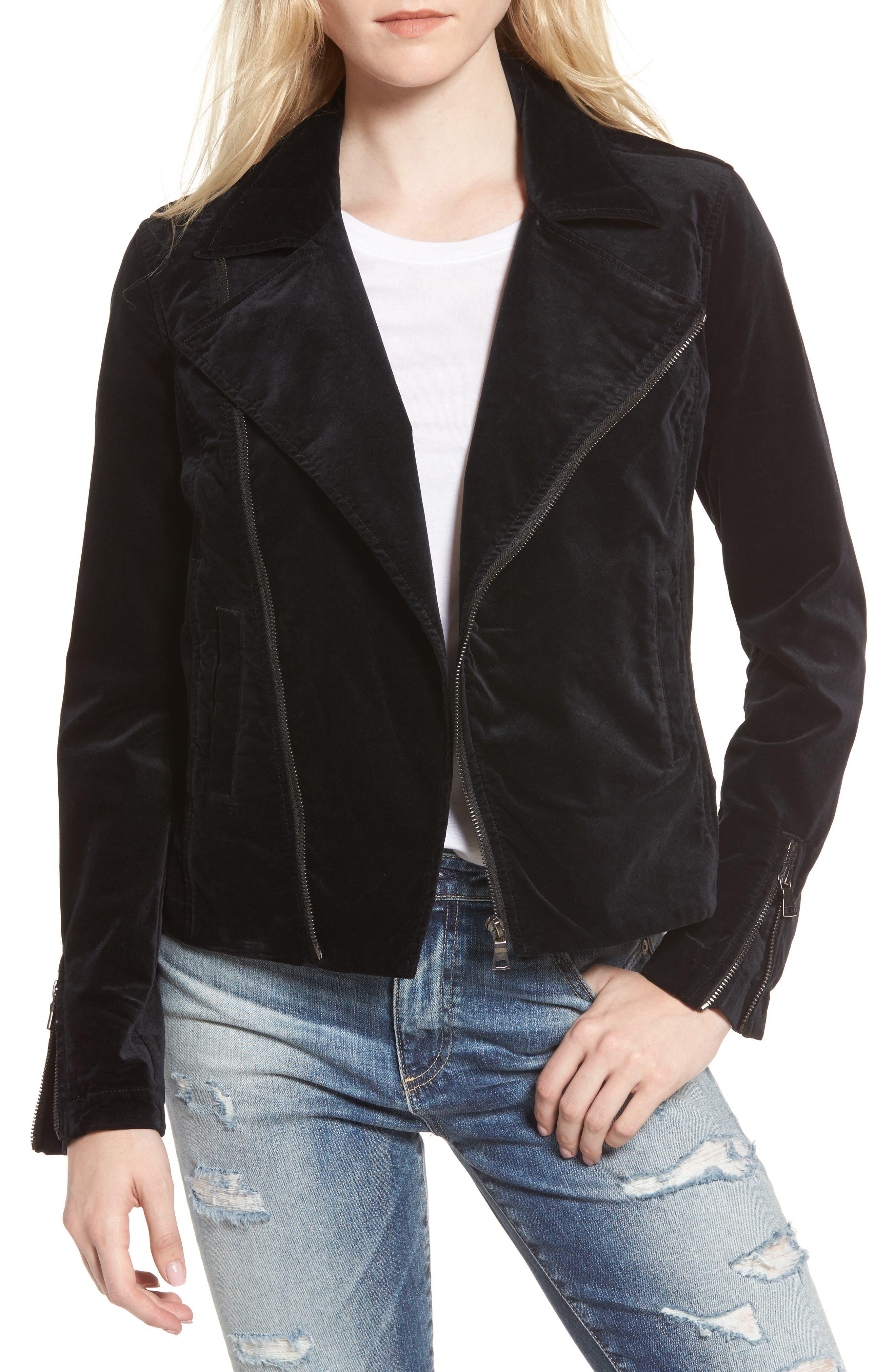 Quincy Velvet Biker Jacket,                         Main,                         color, True Black