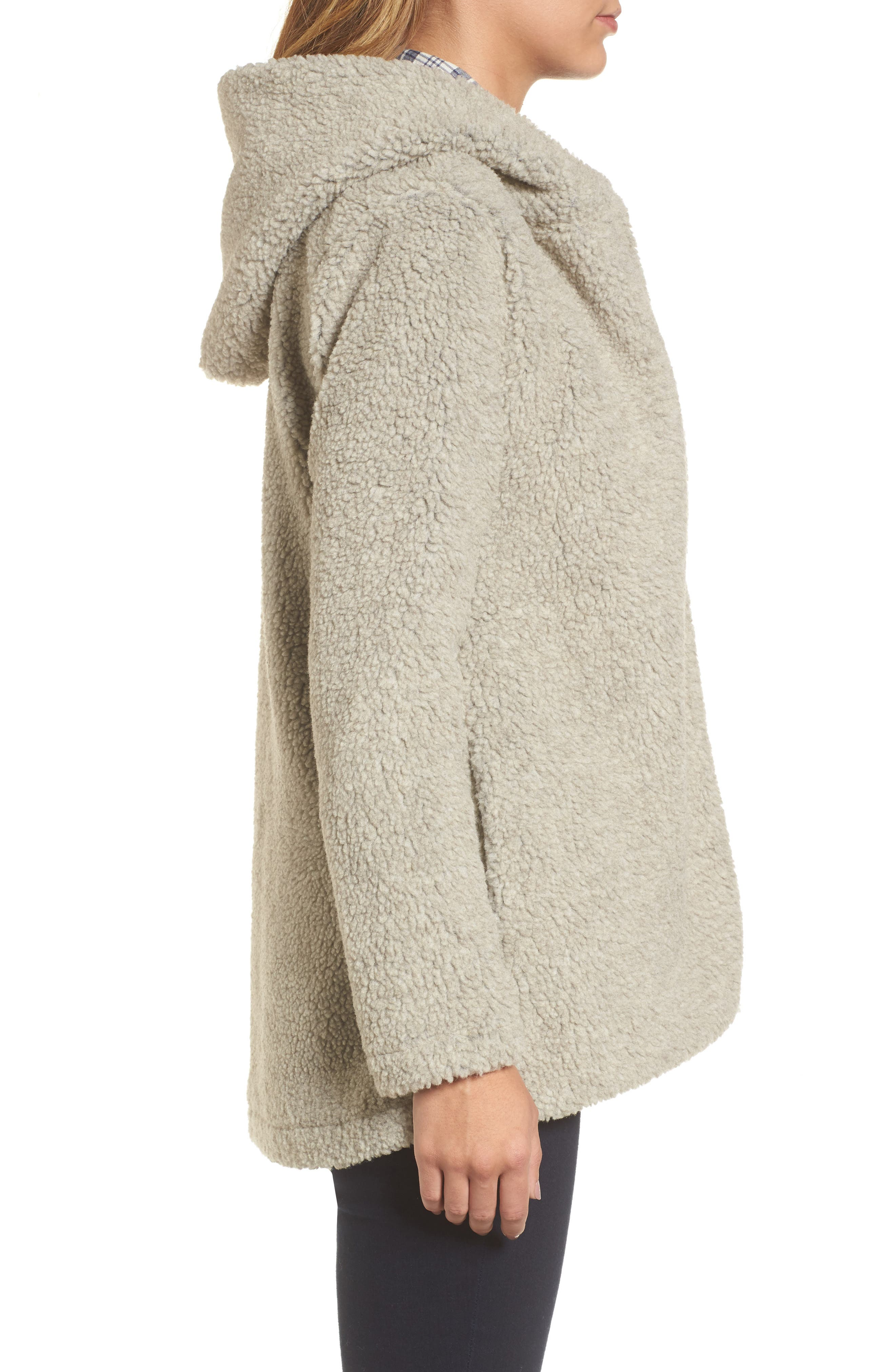 Hooded Faux Fur Jacket,                             Alternate thumbnail 3, color,                             Oatmeal