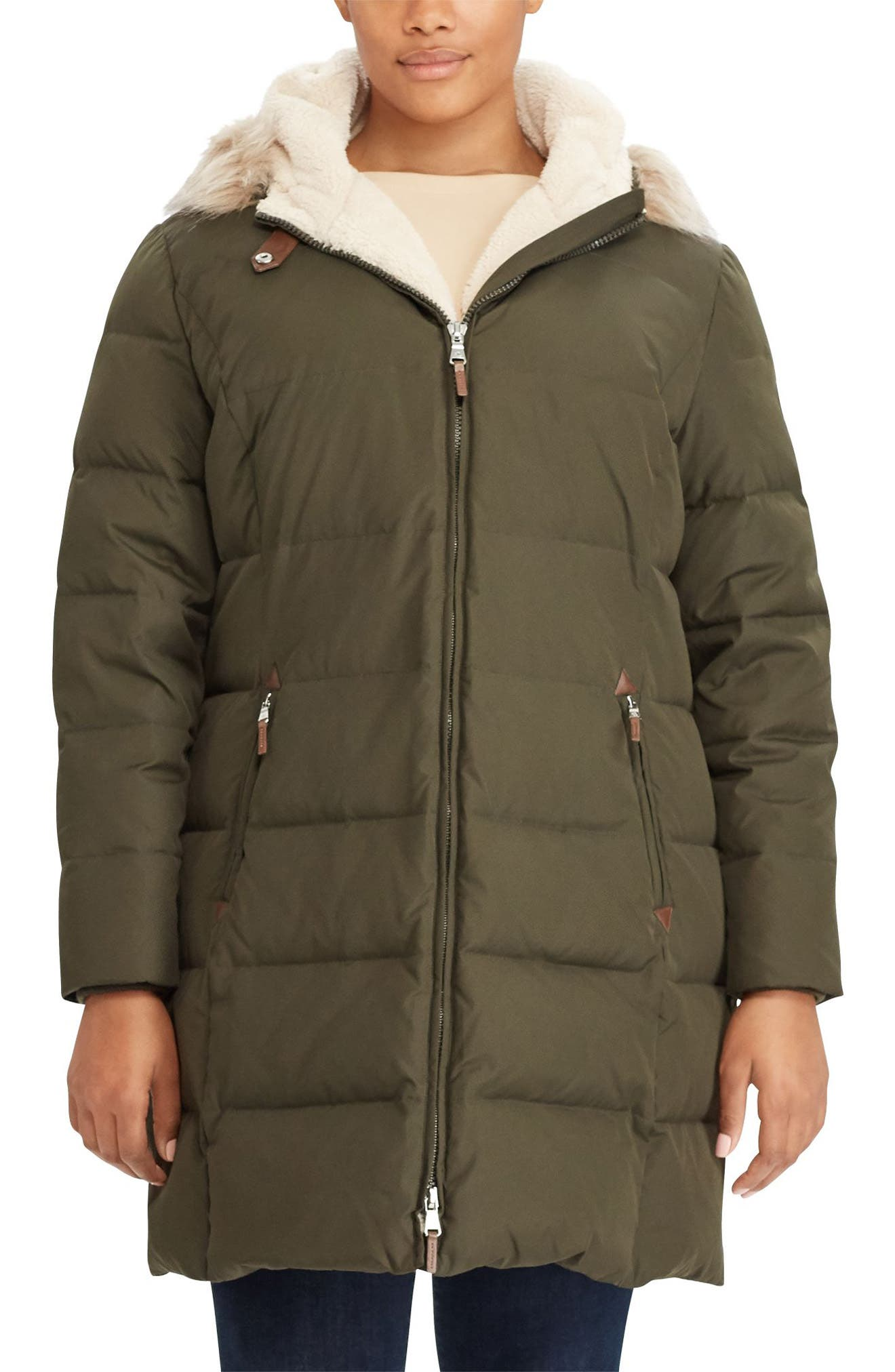 Lauren Ralph Lauren Quilted Down & Feather Fill Parka with Faux Fur Trim (Plus Size)