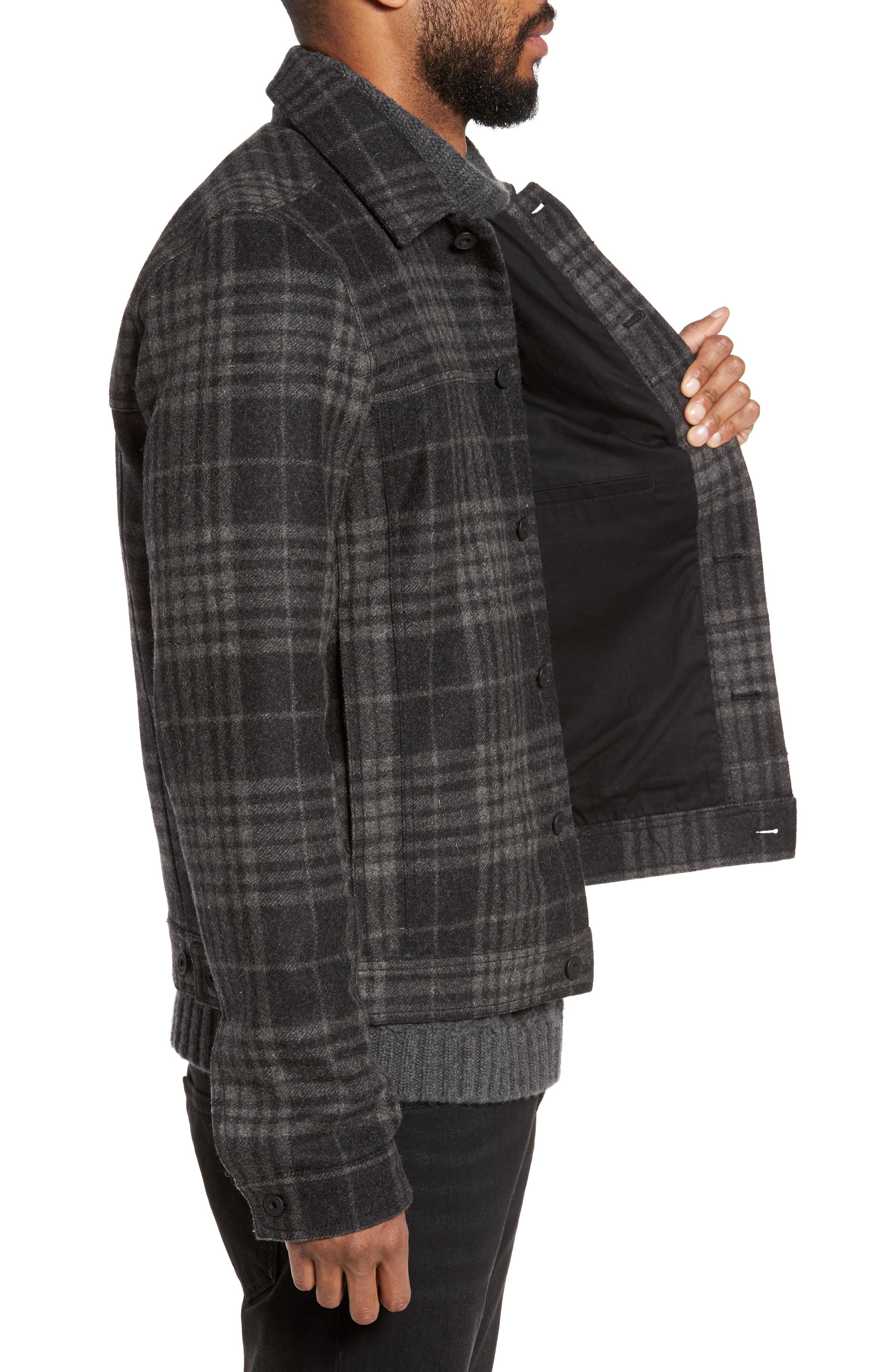 Plaid Trucker Jacket,                             Alternate thumbnail 3, color,                             Charcoal