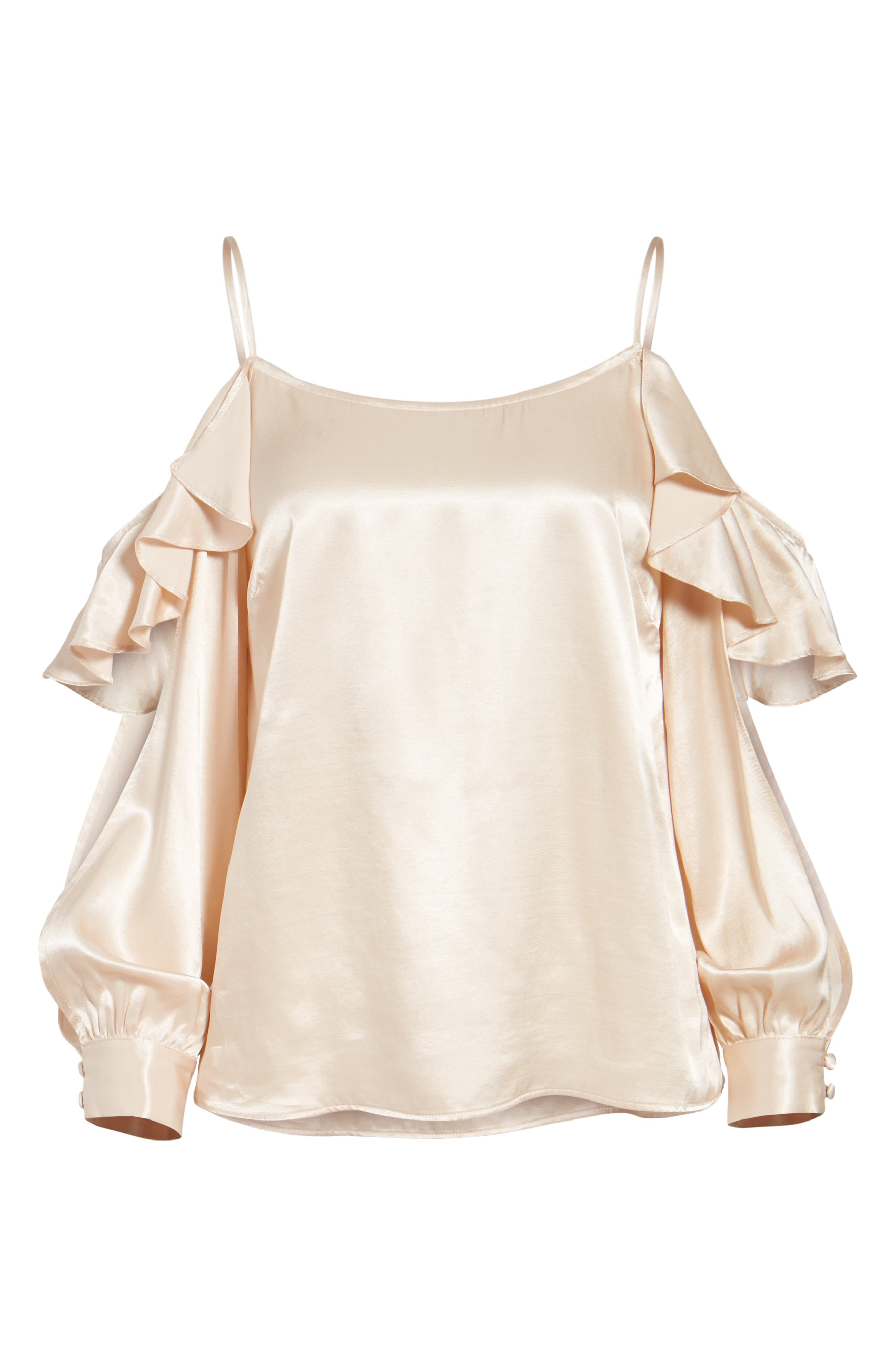 L'Academie The Open Sleeve Blouse,                             Alternate thumbnail 6, color,                             Champagne