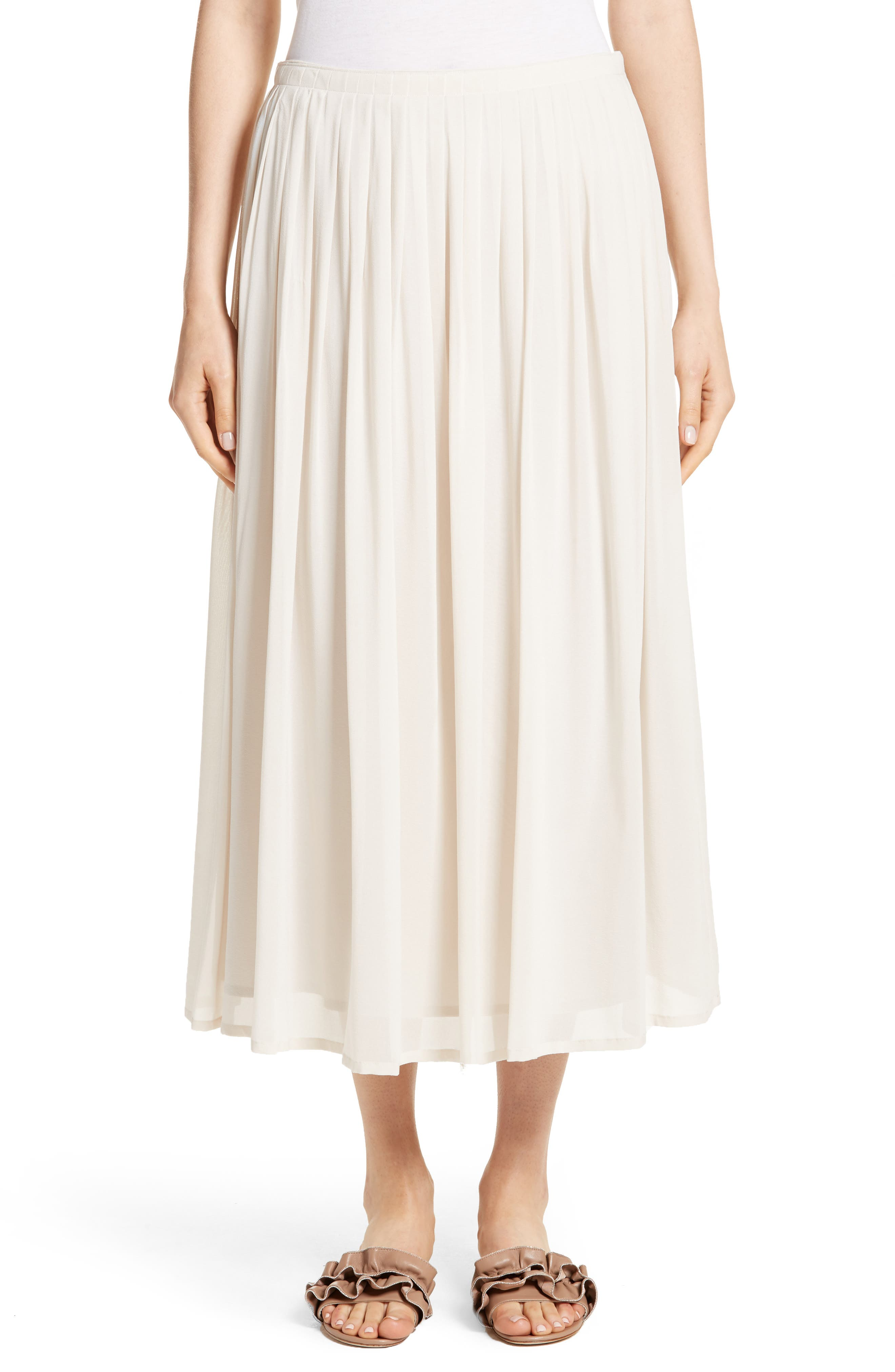 Pleated Chiffon Midi Skirt,                         Main,                         color, Ecru