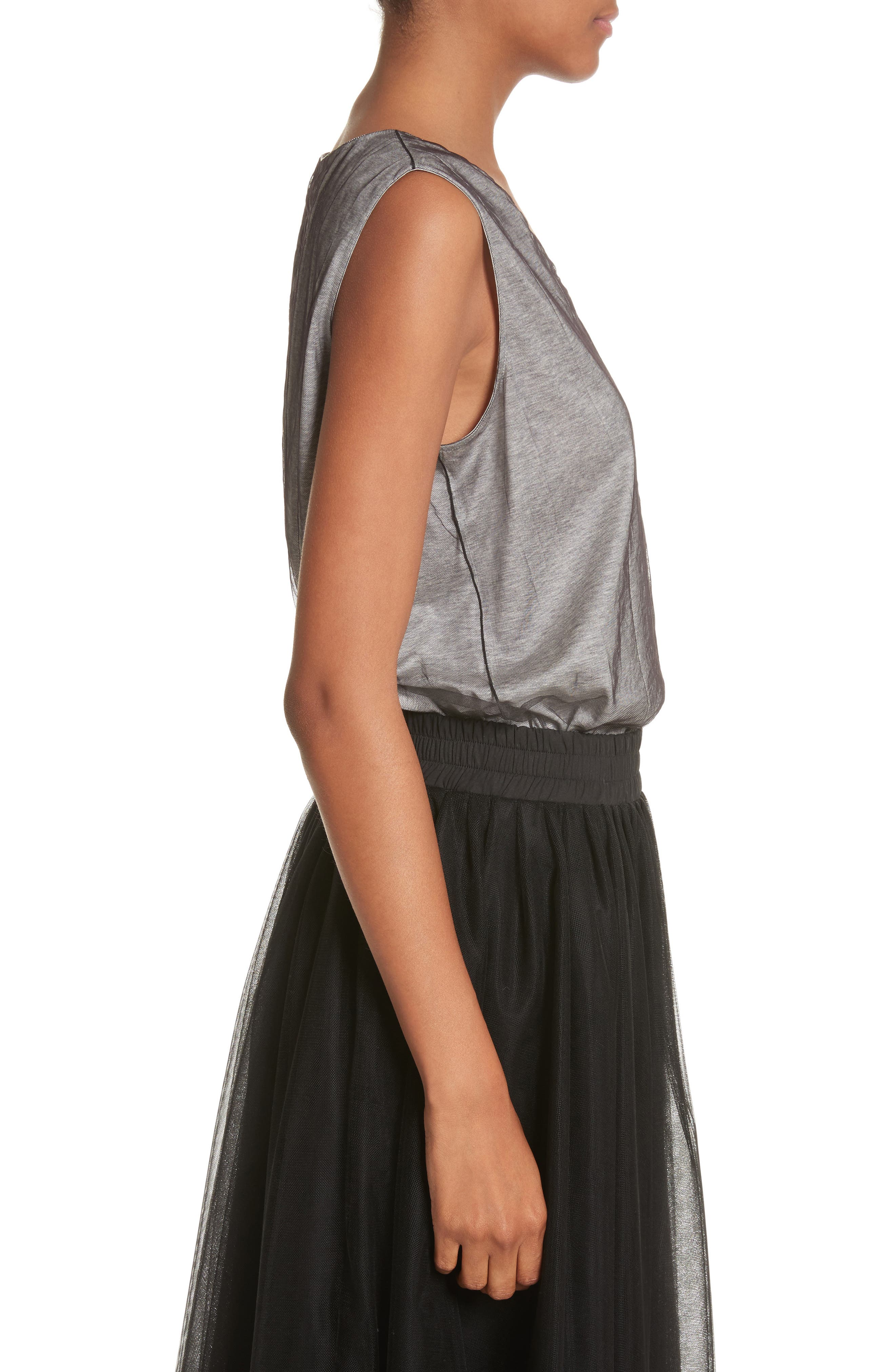 Tulle Overlay Jersey Tank,                             Alternate thumbnail 3, color,                             Grey