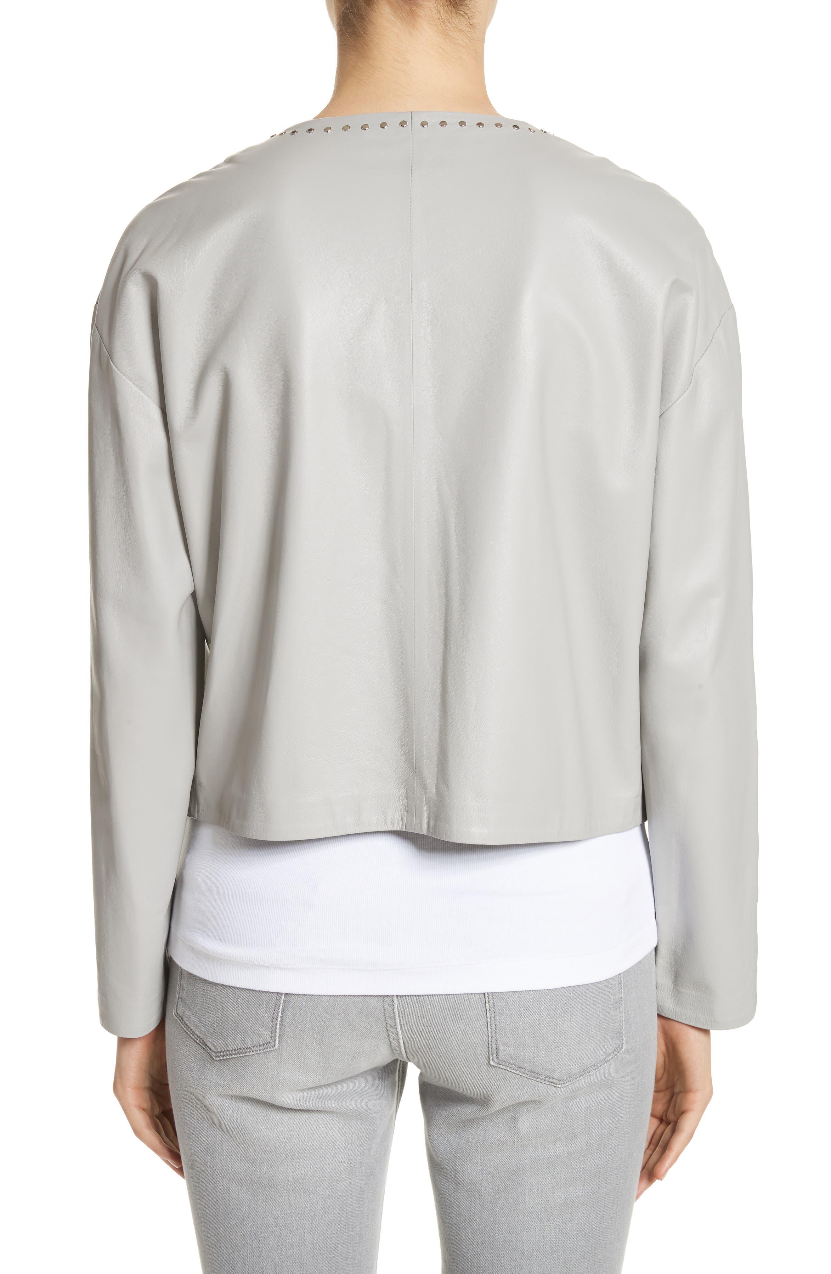 Studded Nappa Leather Jacket,                             Alternate thumbnail 2, color,                             Grey