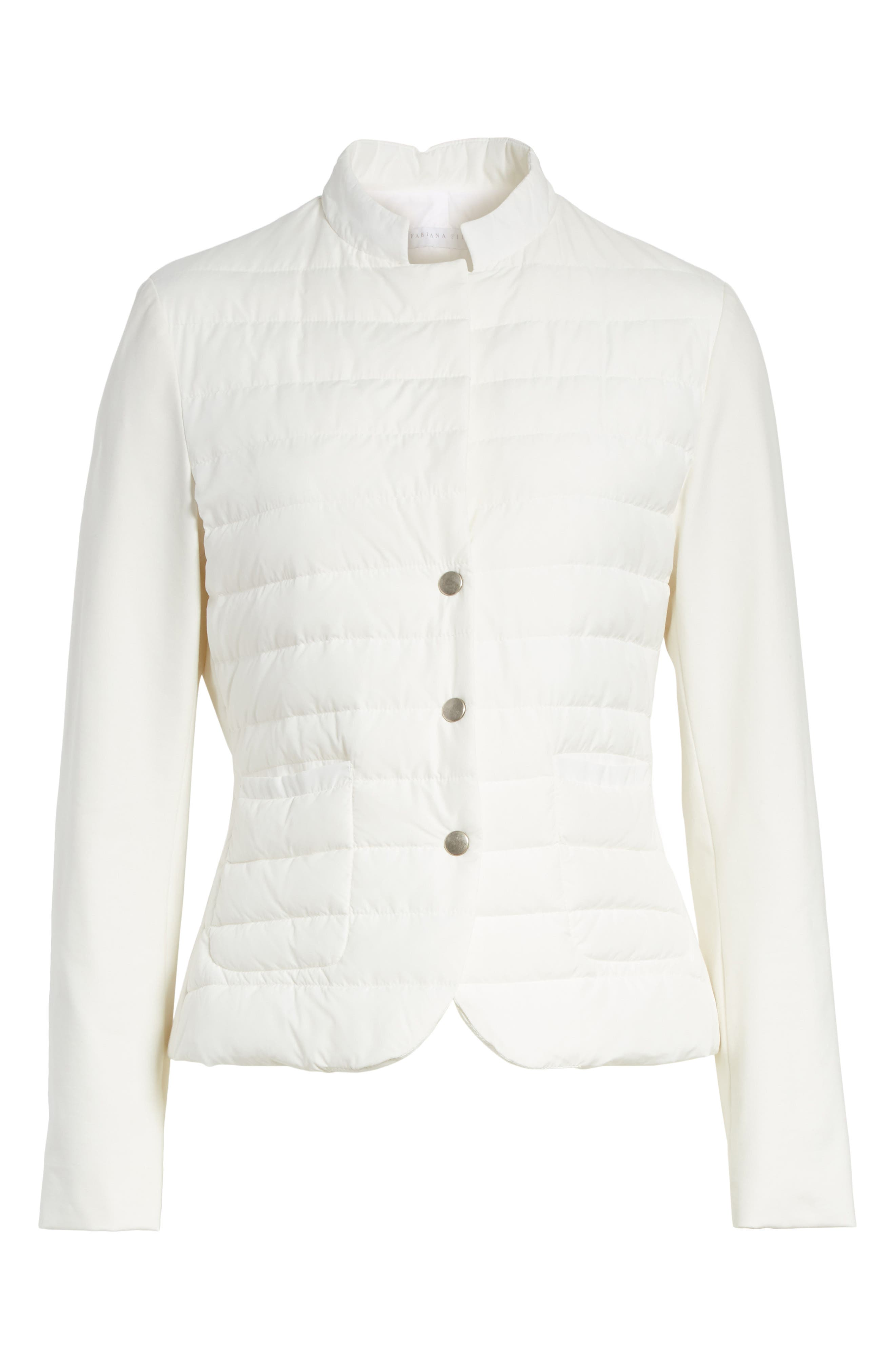 Rodier Jersey Puffer Front Jacket,                             Alternate thumbnail 6, color,                             Pure White