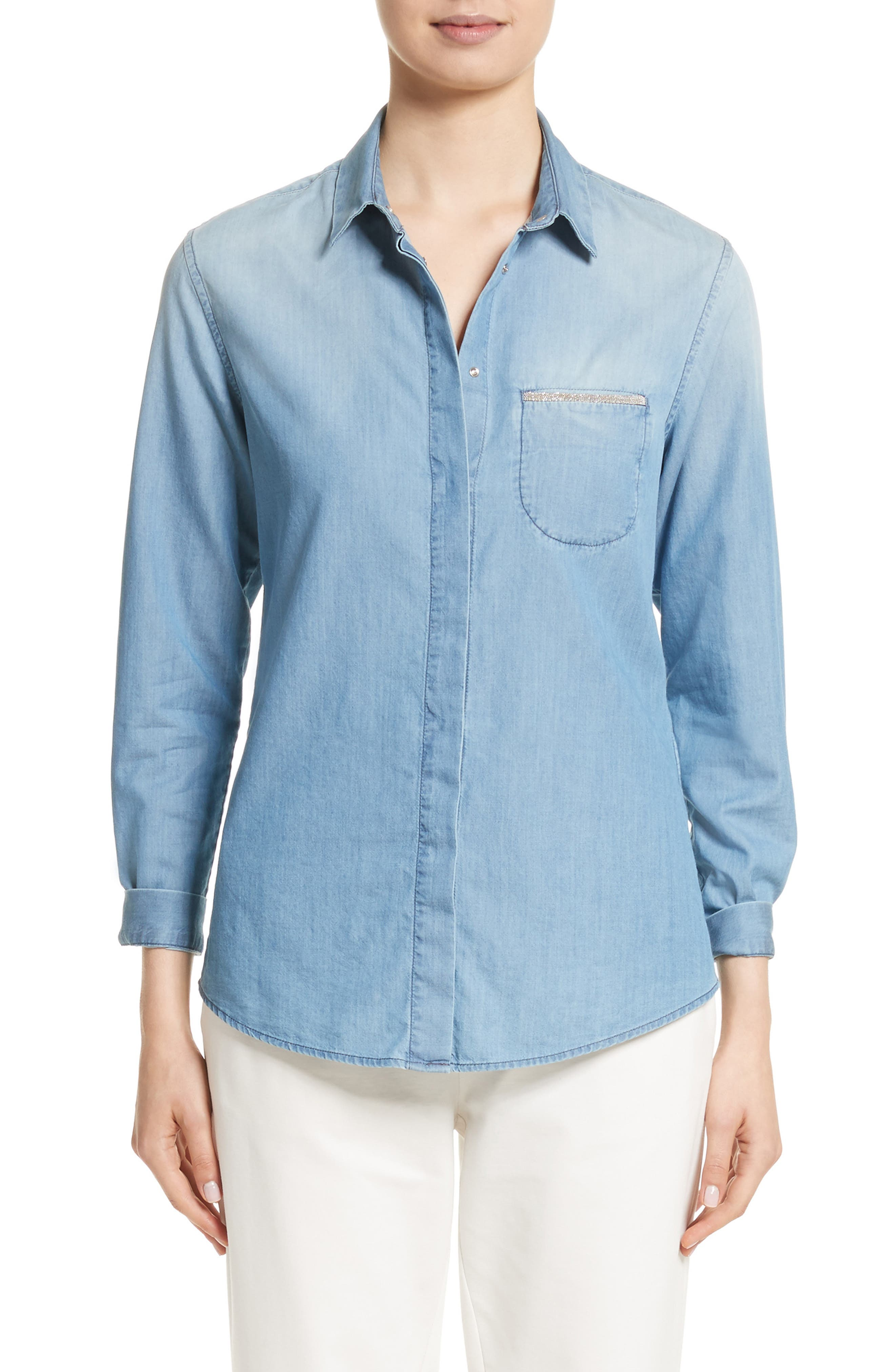 Cotton & Cashmere Chambray Blouse,                             Main thumbnail 1, color,                             Denim Blue