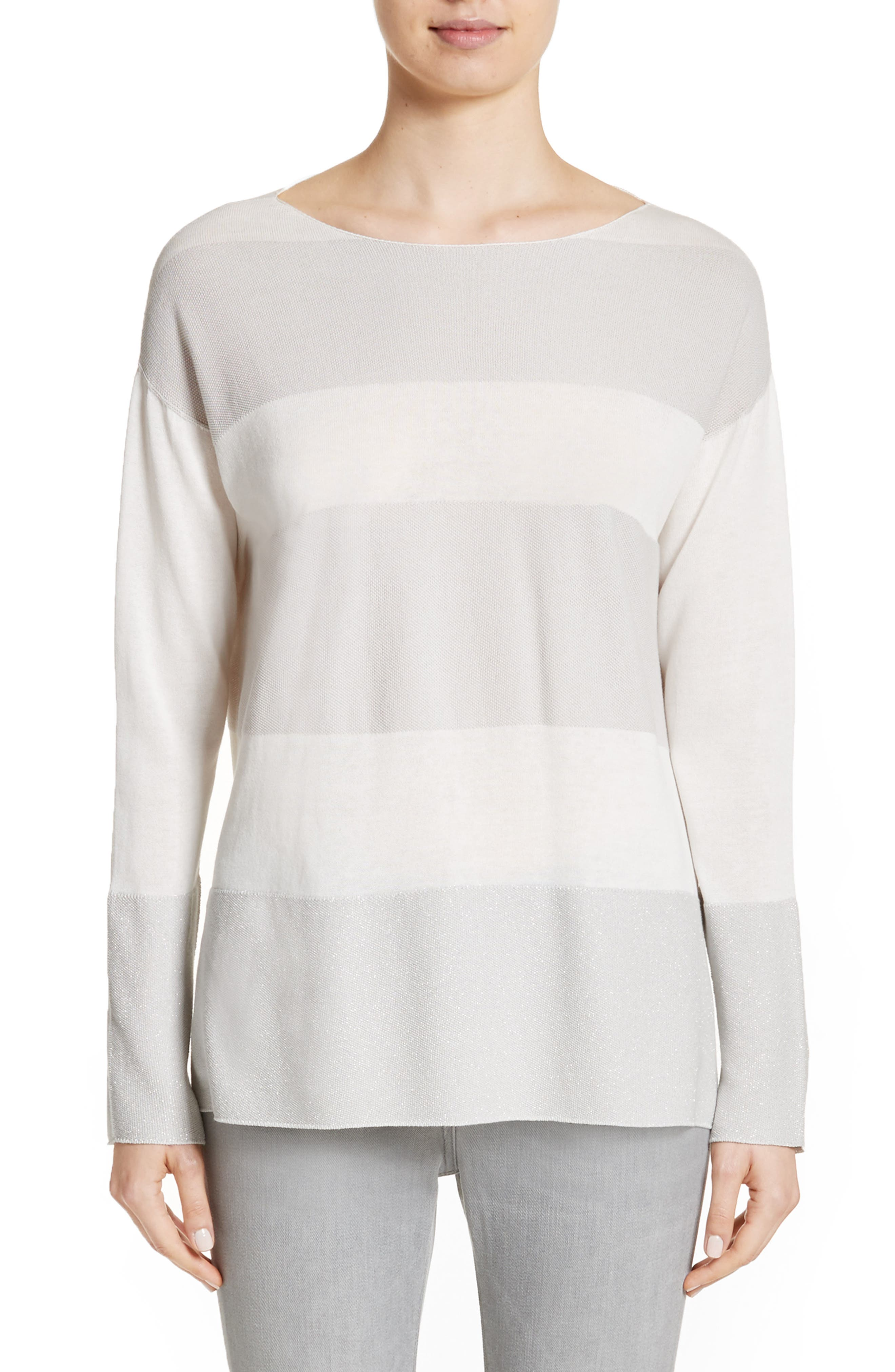 Popcorn Stripe Metallic Knit Sweater,                         Main,                         color, Ivory/ Grey