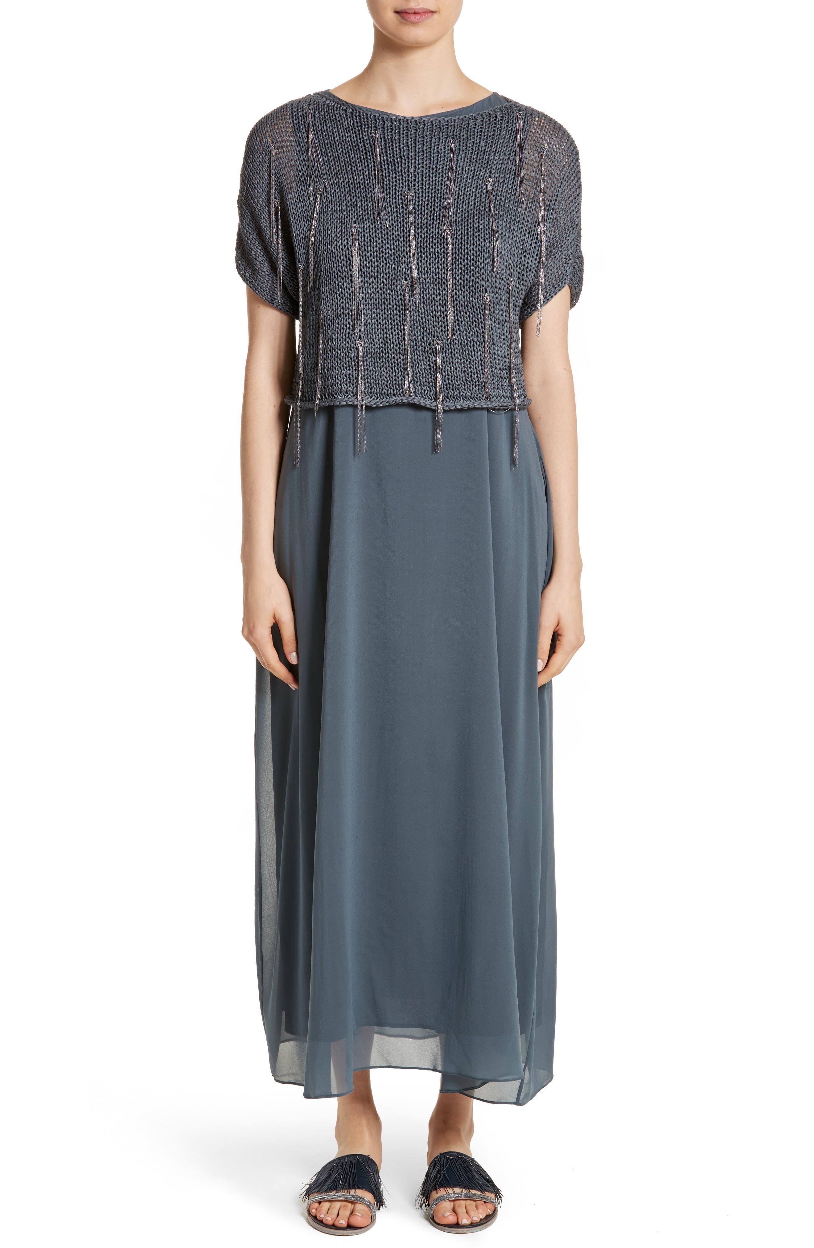 Knit Overlay Stretch Silk Dress,                         Main,                         color, Slate