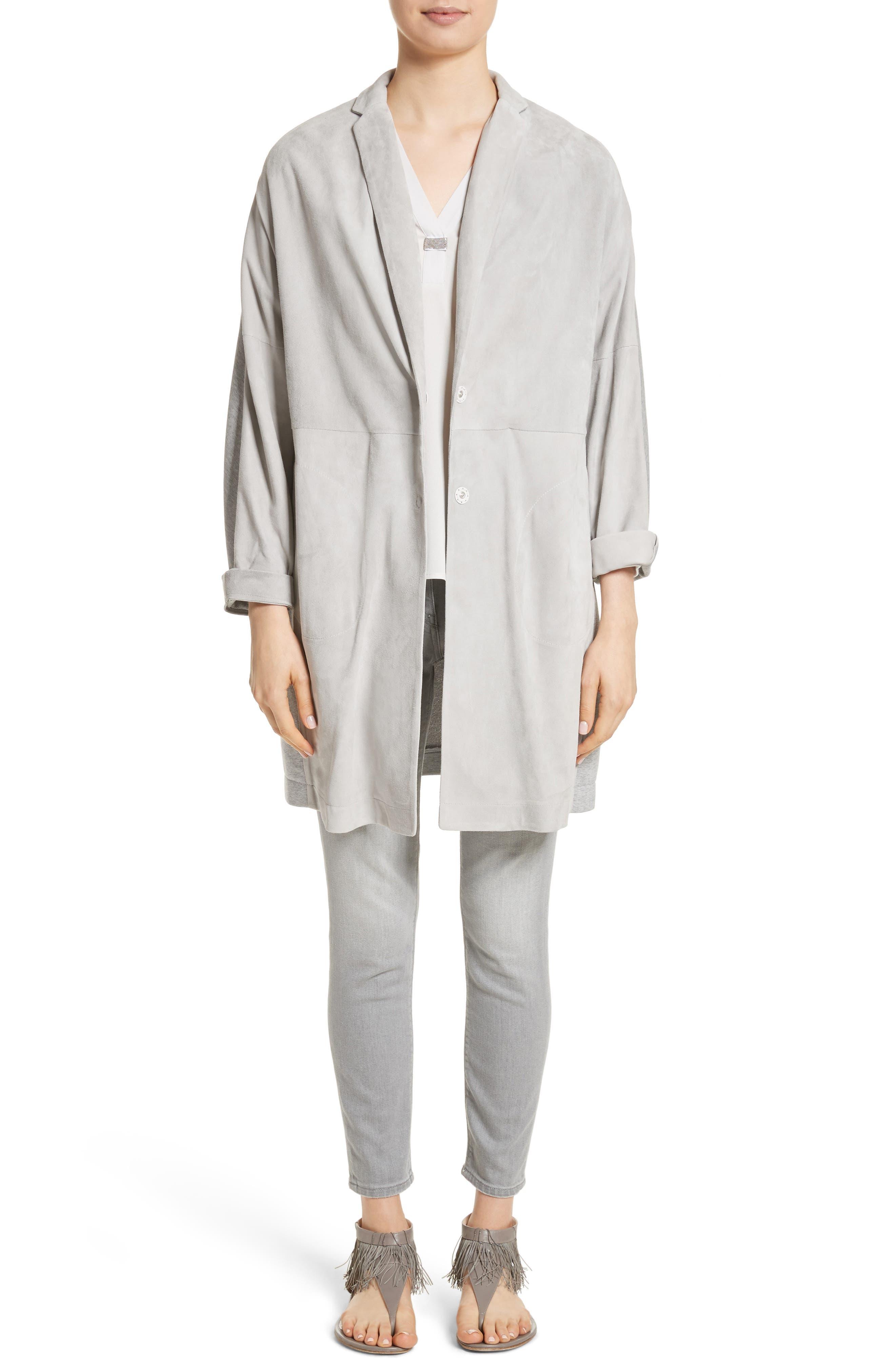 Crêpe de Chine & Ribbed Jersey Blouse,                             Alternate thumbnail 8, color,                             Pearl Grey